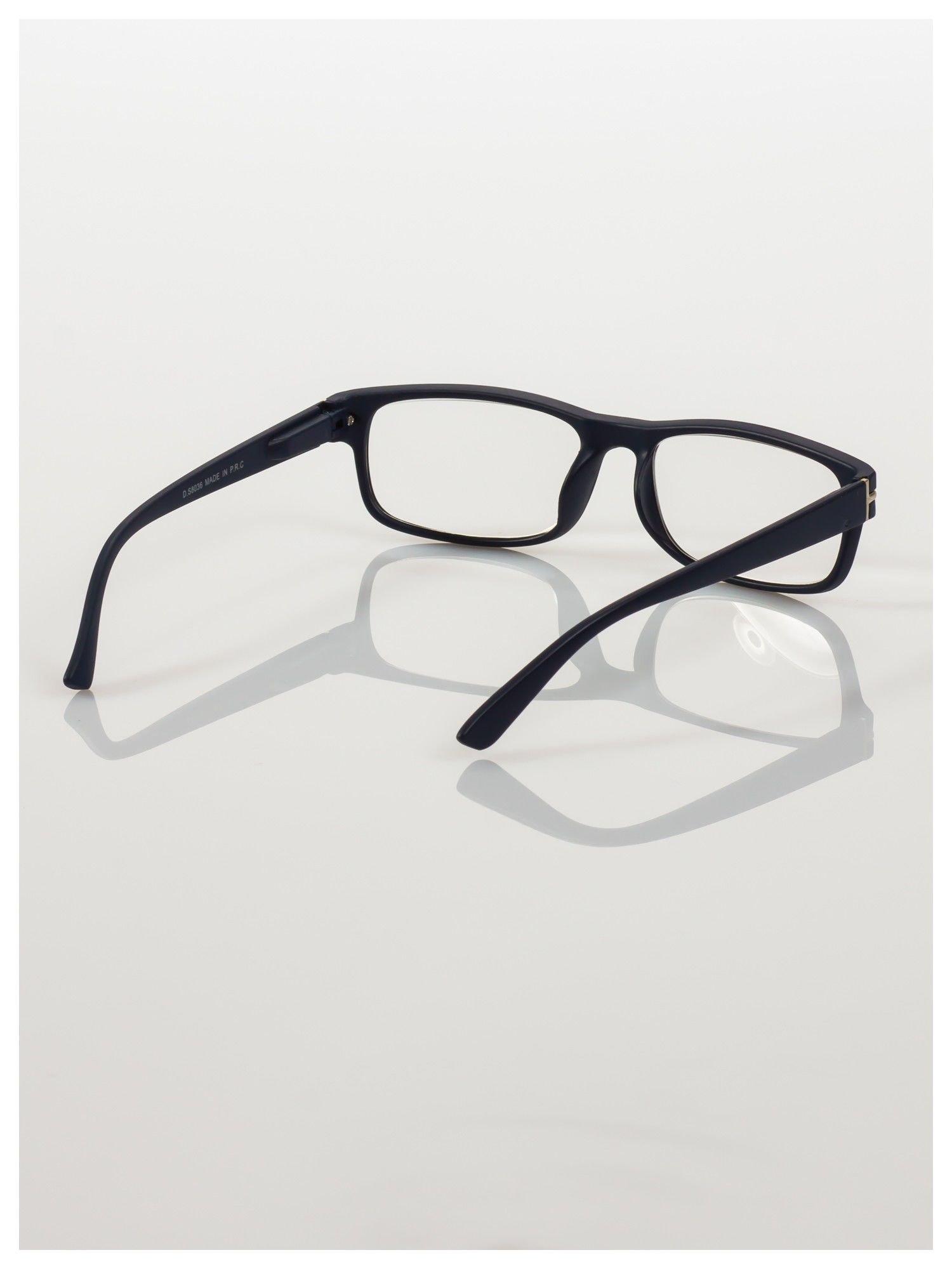 Eleganckie czarne matowe korekcyjne okulary do czytania +2.0 D  z sytemem FLEX na zausznikach                                  zdj.                                  4