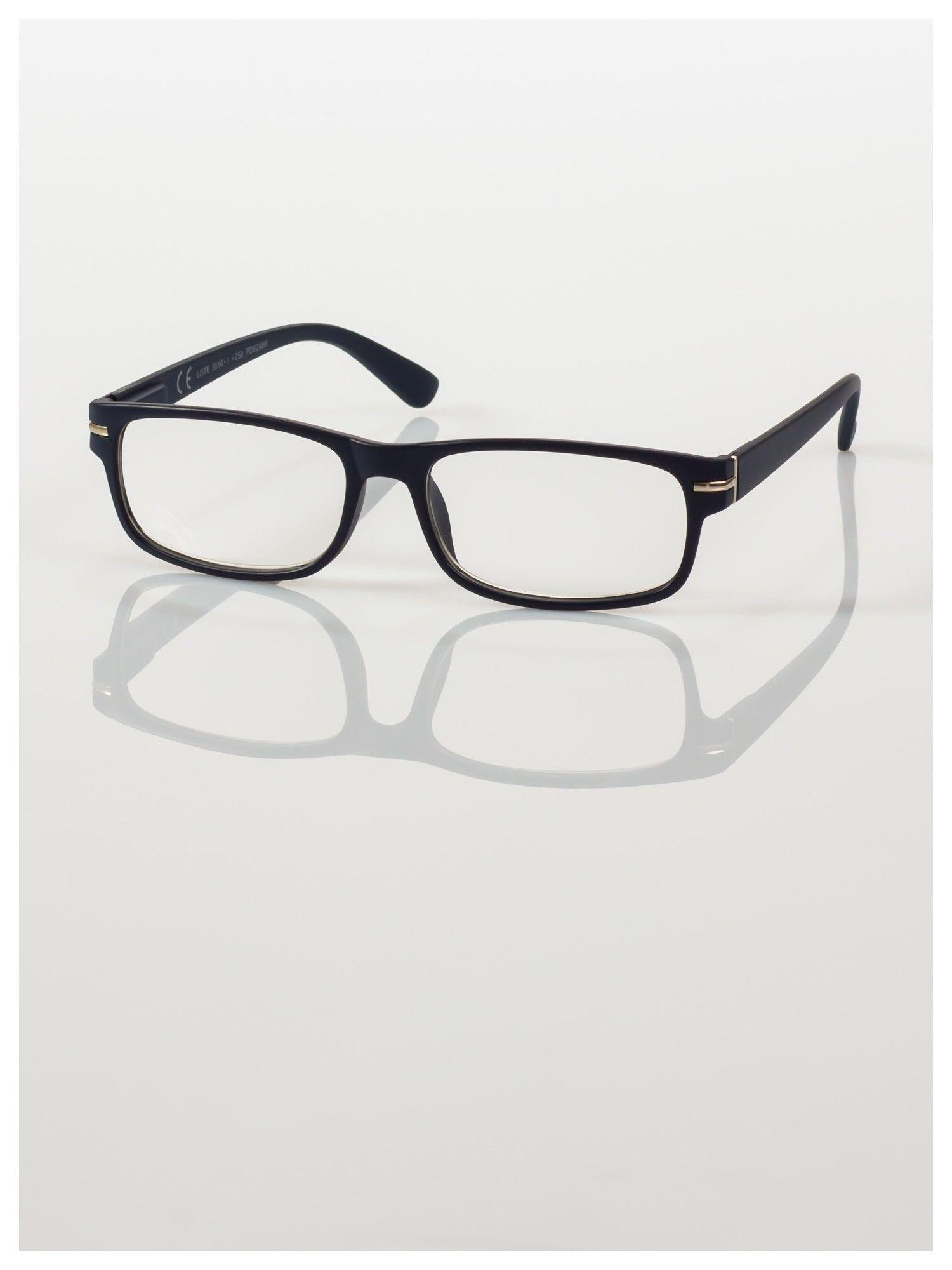 Eleganckie granatowe matowe korekcyjne okulary do czytania +3.5 D  z sytemem FLEX na zausznikach                                  zdj.                                  2