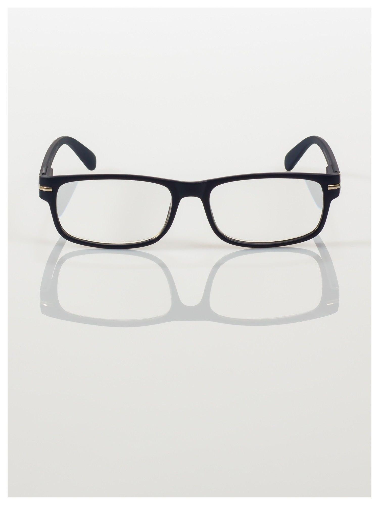 Eleganckie granatowe matowe korekcyjne okulary do czytania +3.5 D  z sytemem FLEX na zausznikach                                  zdj.                                  3