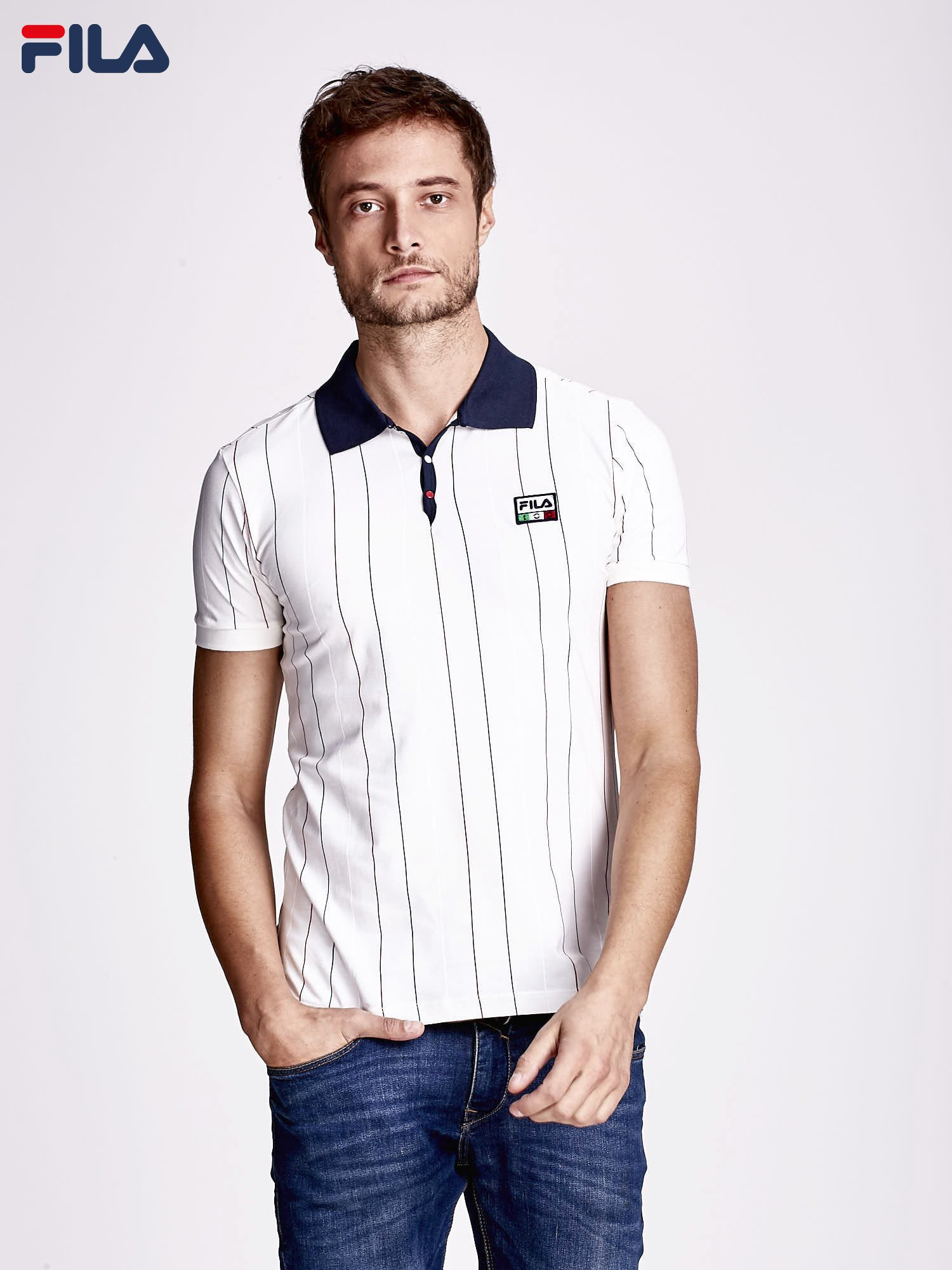 f95ea07aceb9 FILA Ecru koszulka polo męska w kolorowe paski - Mężczyźni koszulka ...