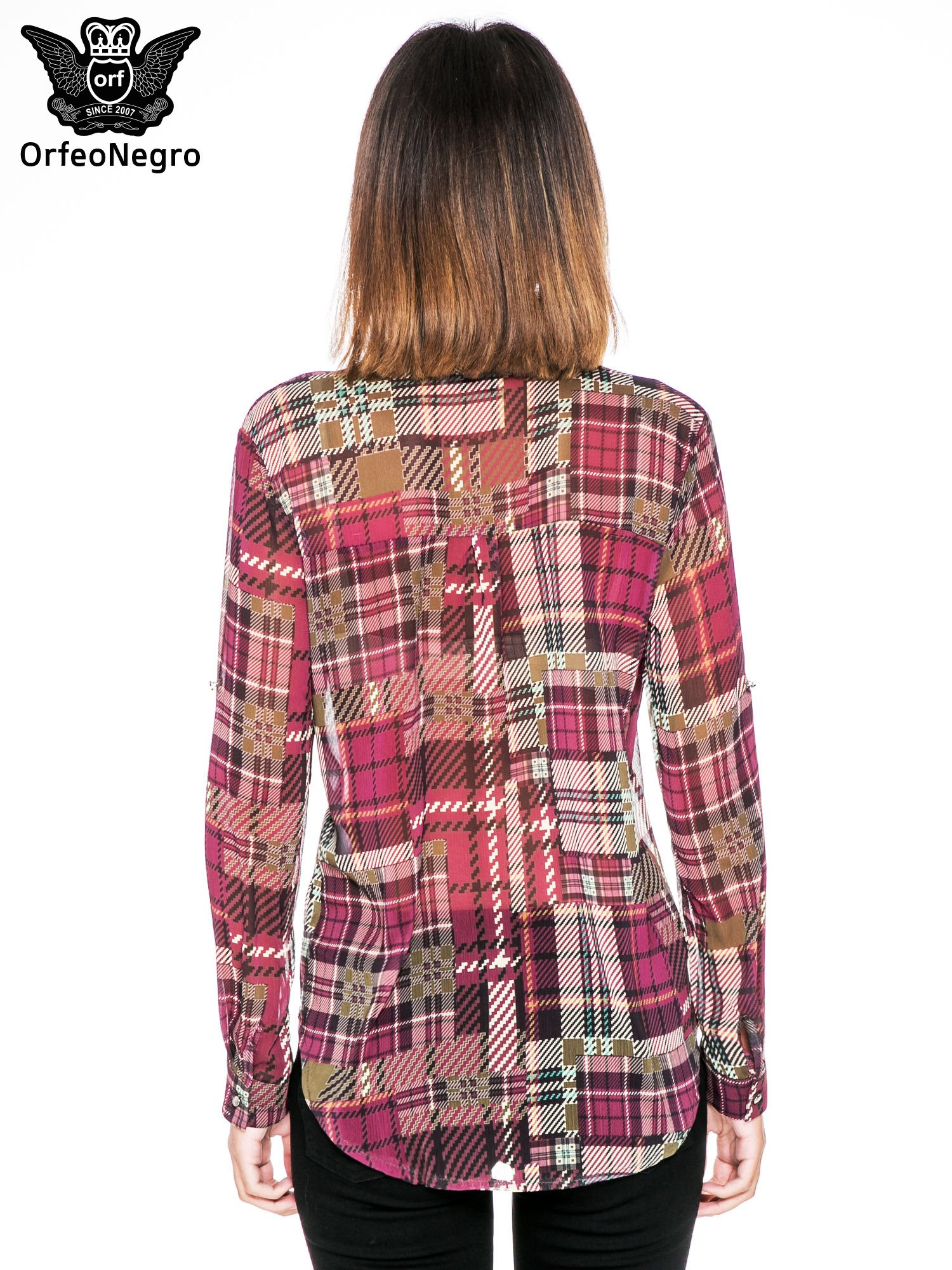 Fioletowa koszula damska w kratę                                  zdj.                                  4