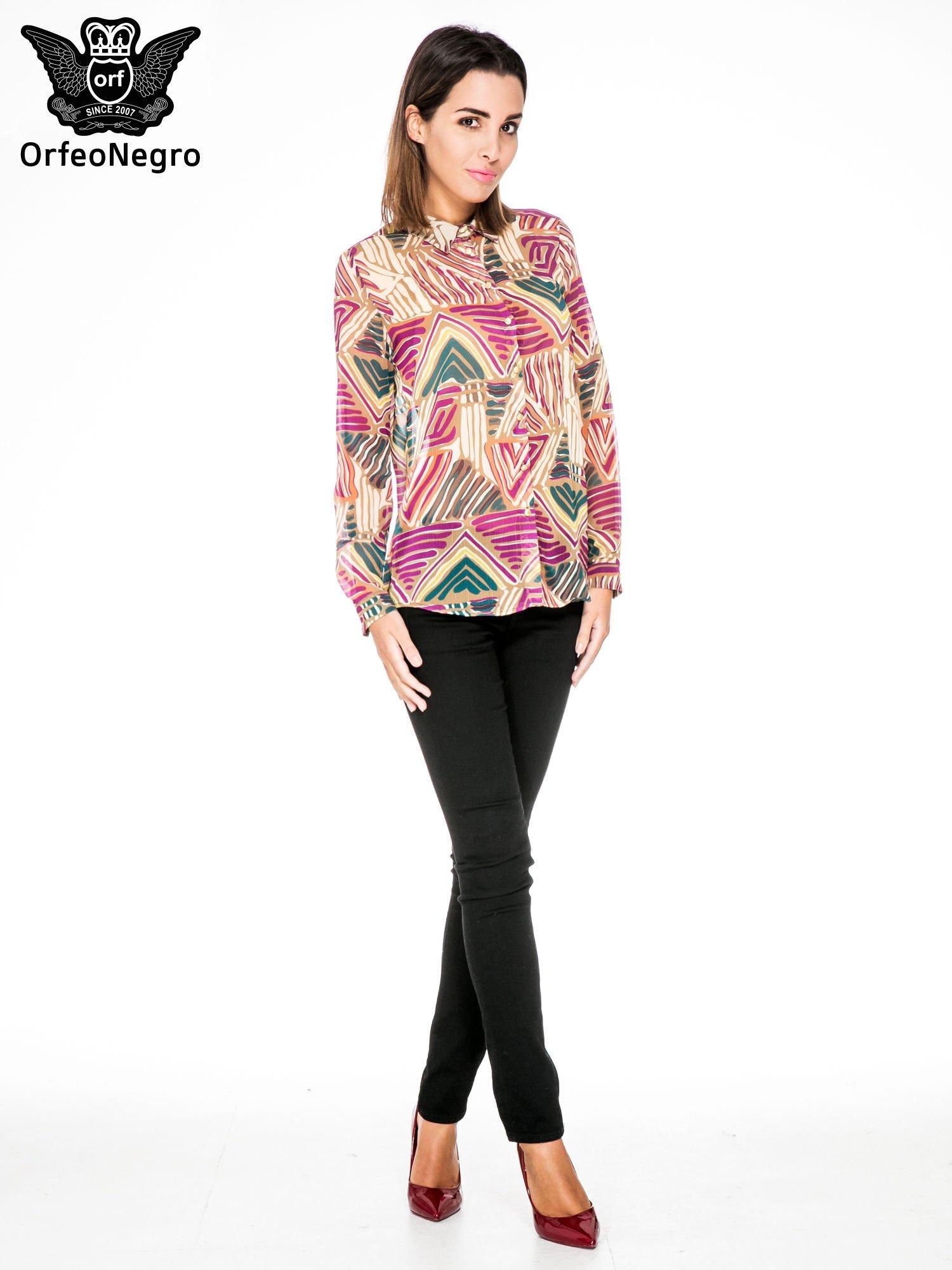 Fioletowa koszula w kolorowe zygzaki                                  zdj.                                  4