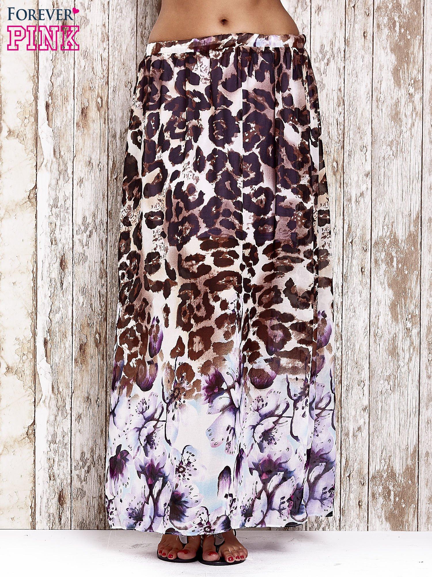 Fioletowa spódnica maxi we wzór panterkowokwiatowy                                  zdj.                                  1