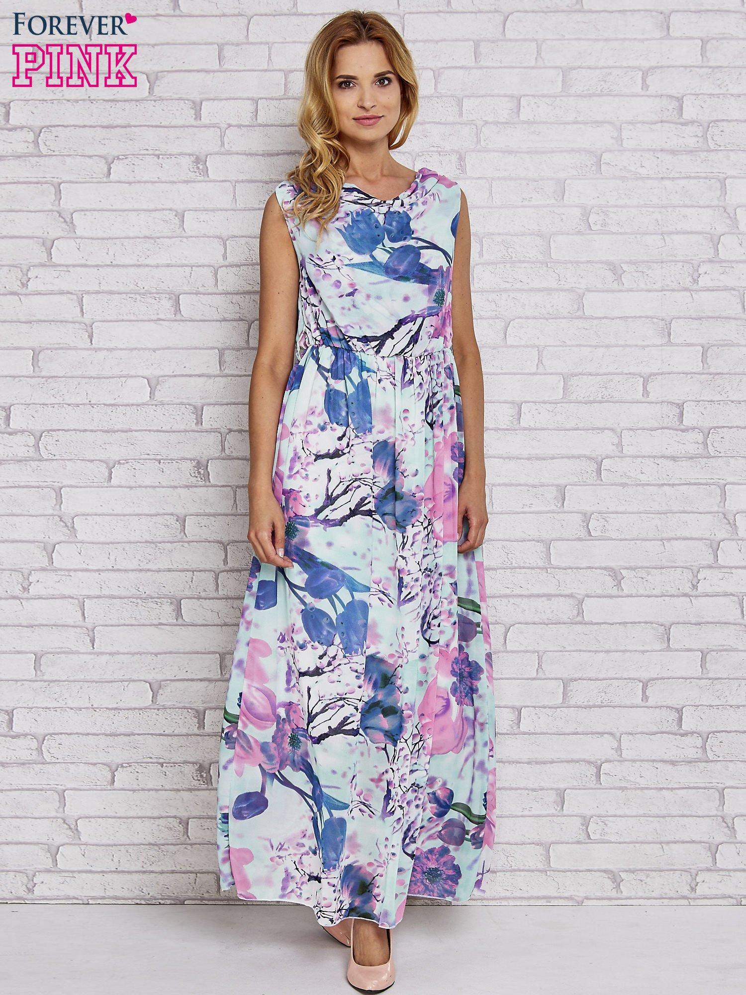 Fioletowa sukienka maxi w kwiaty                                  zdj.                                  4
