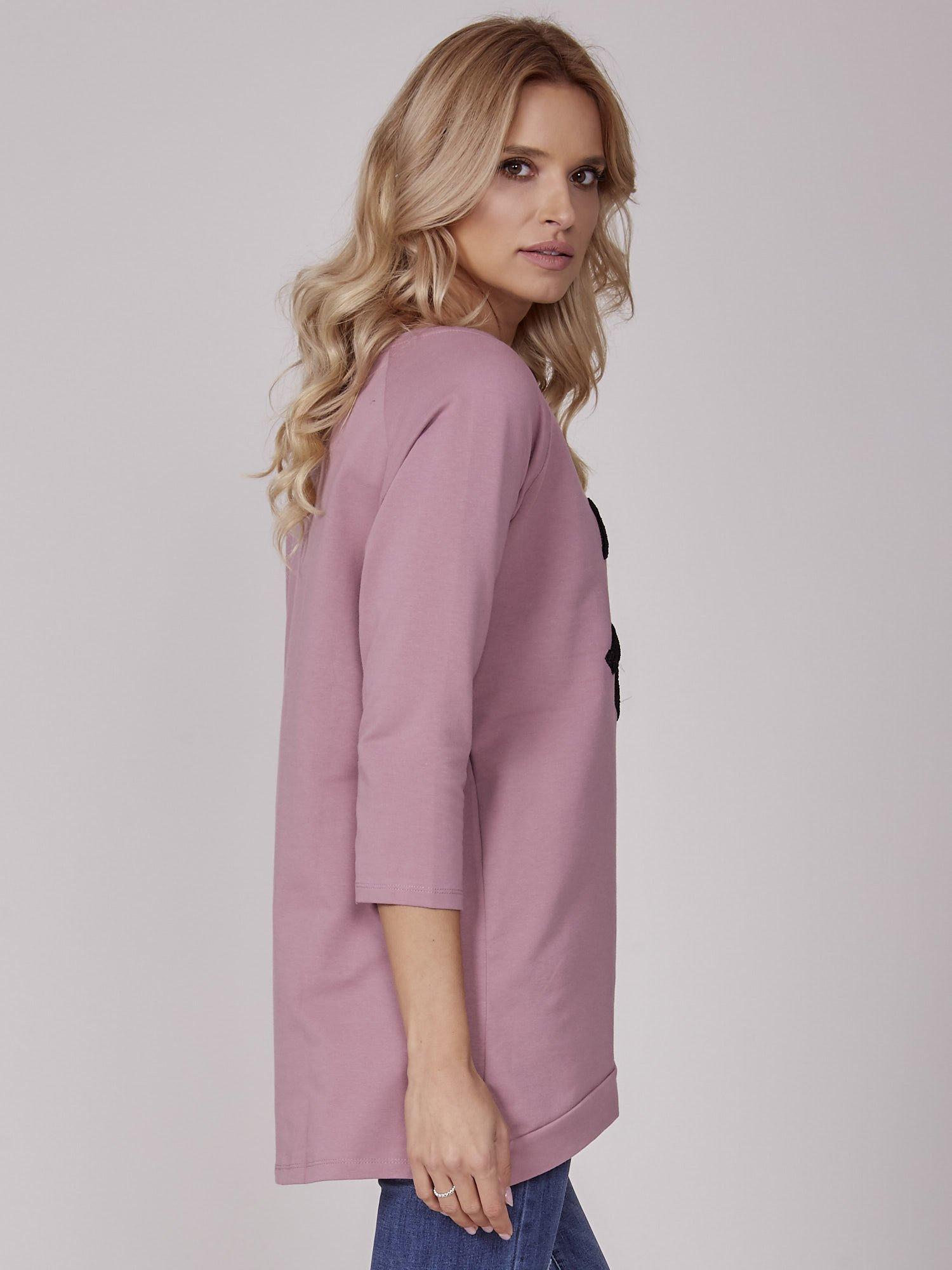 301db8d997 Fioletowa tunika z wypukłym napisem - Bluzka one size - sklep eButik.pl