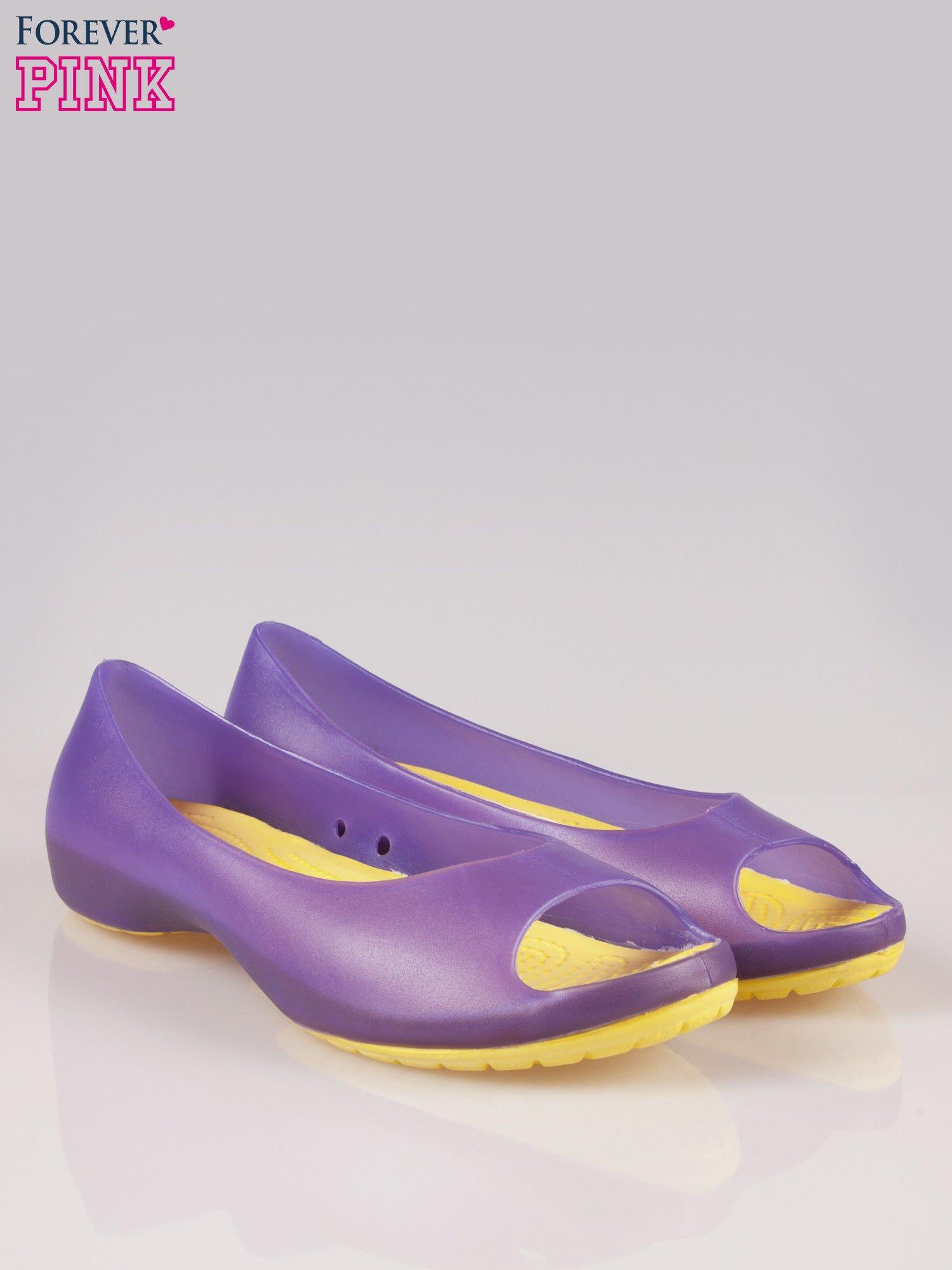 Fioletowe gumowe baleriny peep toe                                  zdj.                                  2