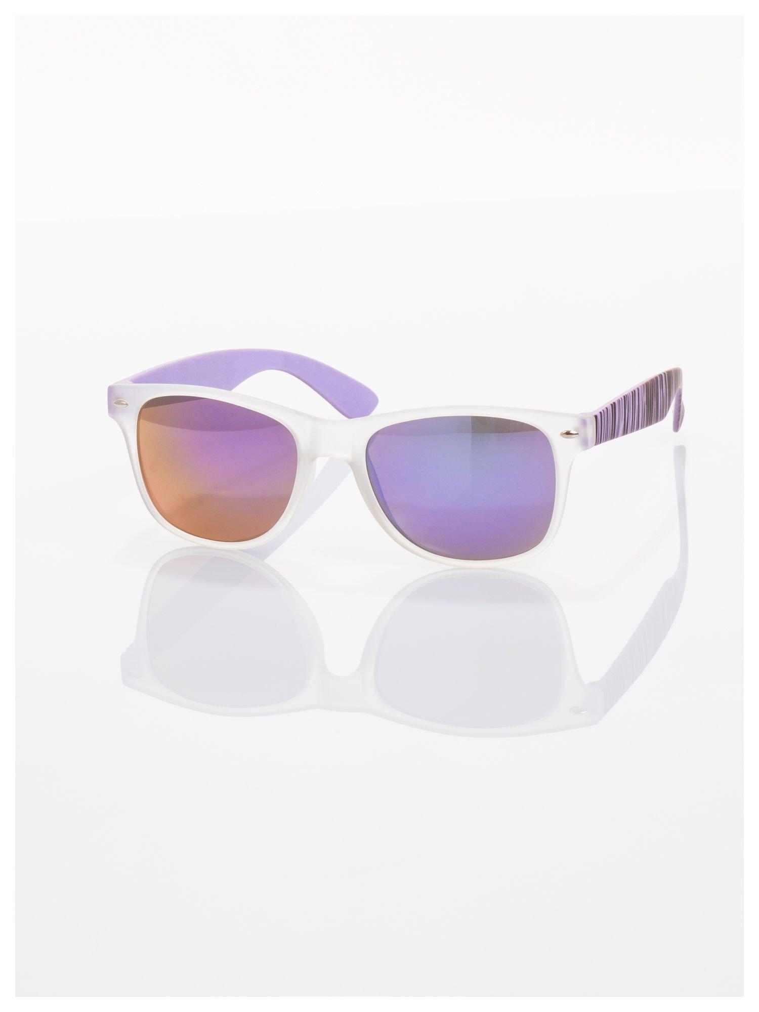 Fioletowe  lustrzanki z filtrami UV okulary z klasyczną oprawką WAYFARER NERD z efektem mlecznej szyby -odporne na wyginania                                  zdj.                                  1