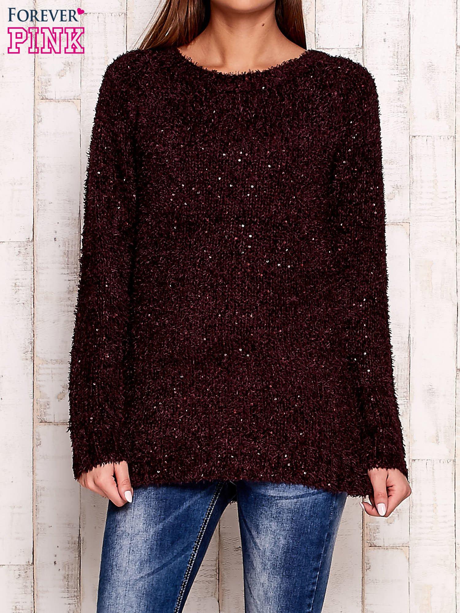 Fioletowy sweter fluffy z cekinami                                  zdj.                                  1