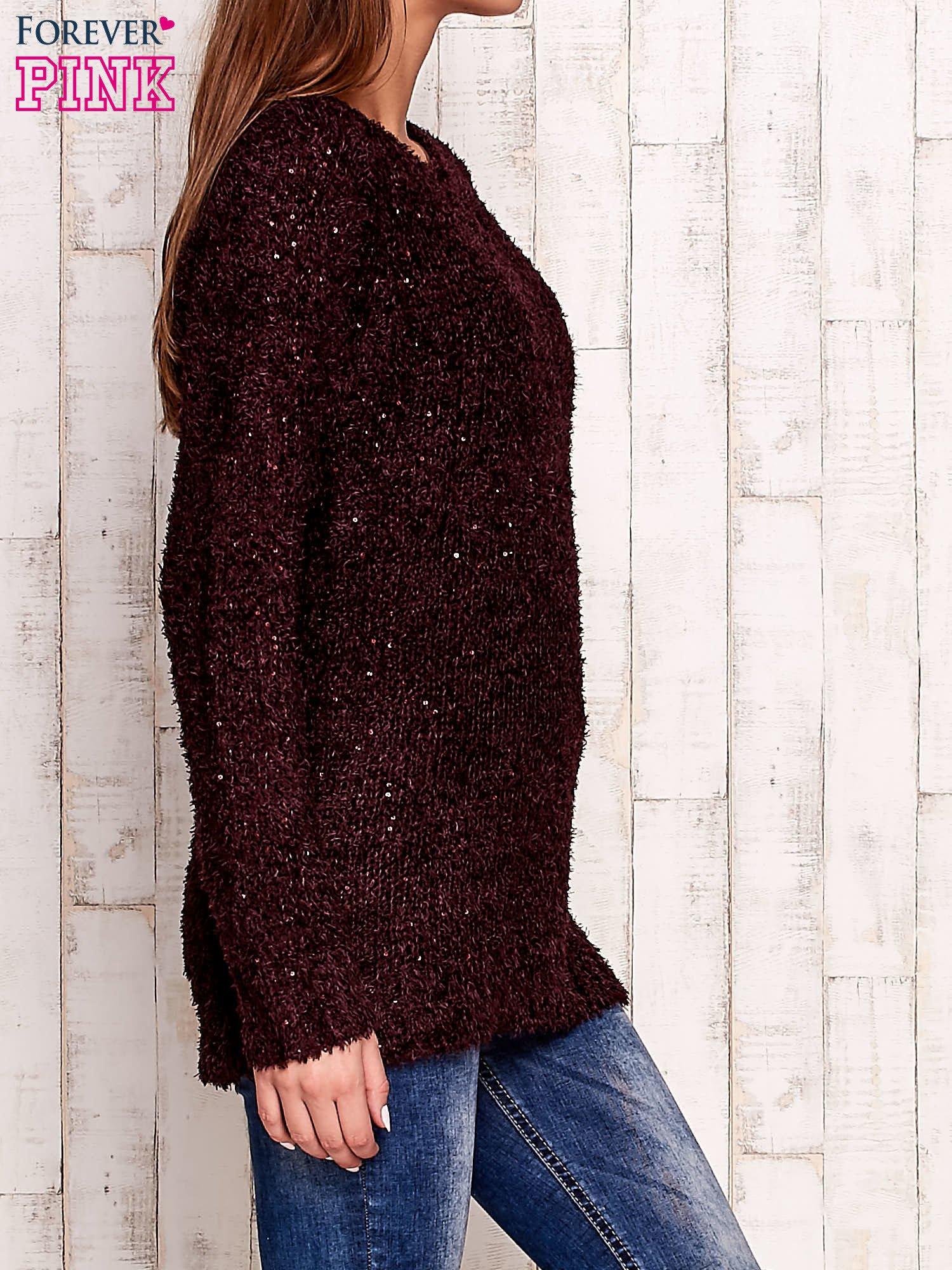 Fioletowy sweter fluffy z cekinami                                  zdj.                                  3