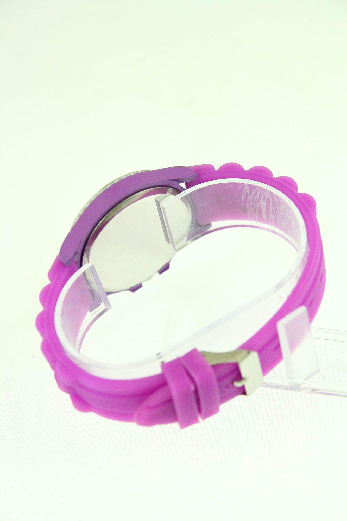 Fioletowy zegarek damski na silikonowym pasku                                  zdj.                                  3