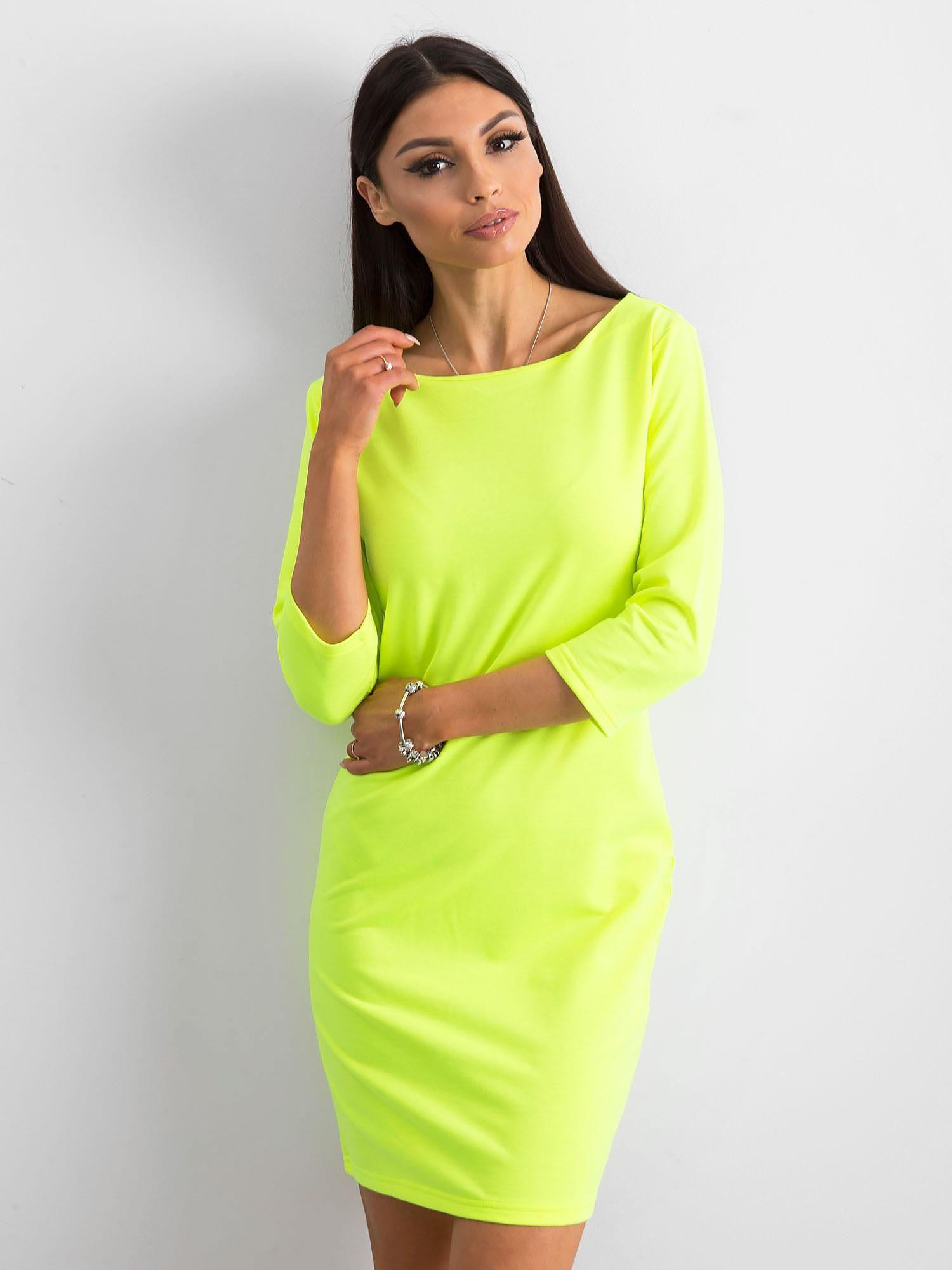 81617b5e18 Fluo żółta sukienka z bawełny - Sukienka na co dzień - sklep eButik.pl