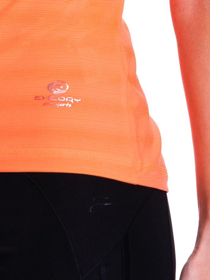 Fluopomarańczowy t-shirt sportowy w paseczki                                  zdj.                                  5