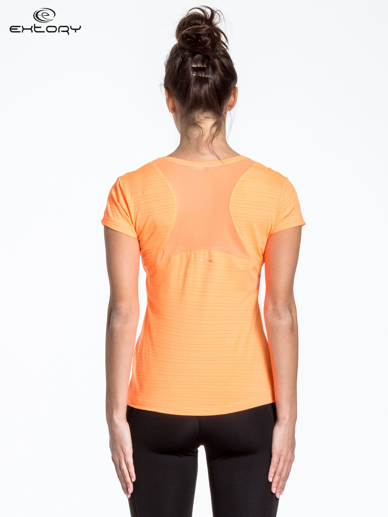 Fluopomarańczowy t-shirt sportowy w paseczki                                  zdj.                                  2