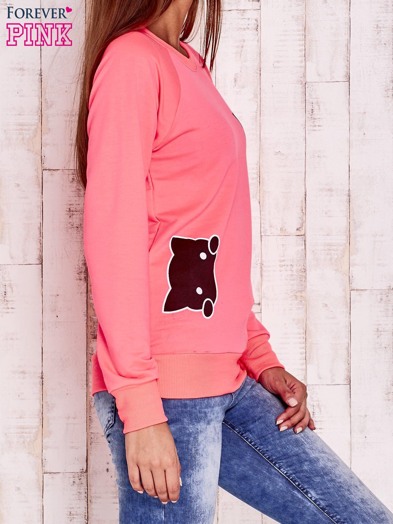 Fluoróżowa bluza z kocimi motywami                                  zdj.                                  3