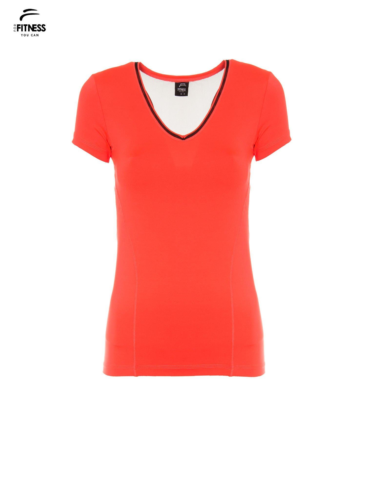 Fluoróżowy termoaktywny t-shirt sportowy z siateczką przy dekolcie i z tyłu ♦ Performance RUN                                  zdj.                                  2