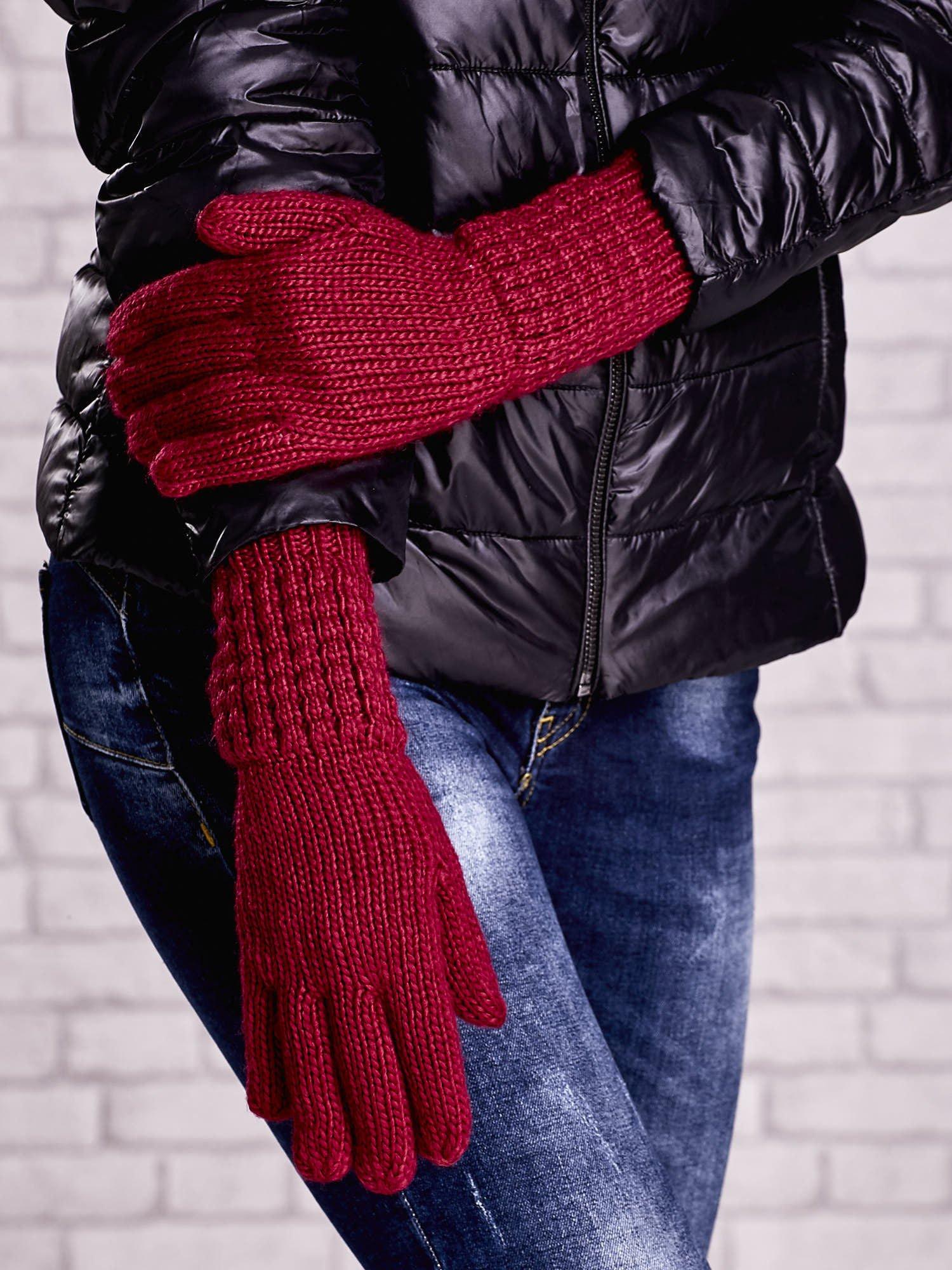 Fuksjowe długie rękawiczki z fantazyjnym ściągaczem                                  zdj.                                  3