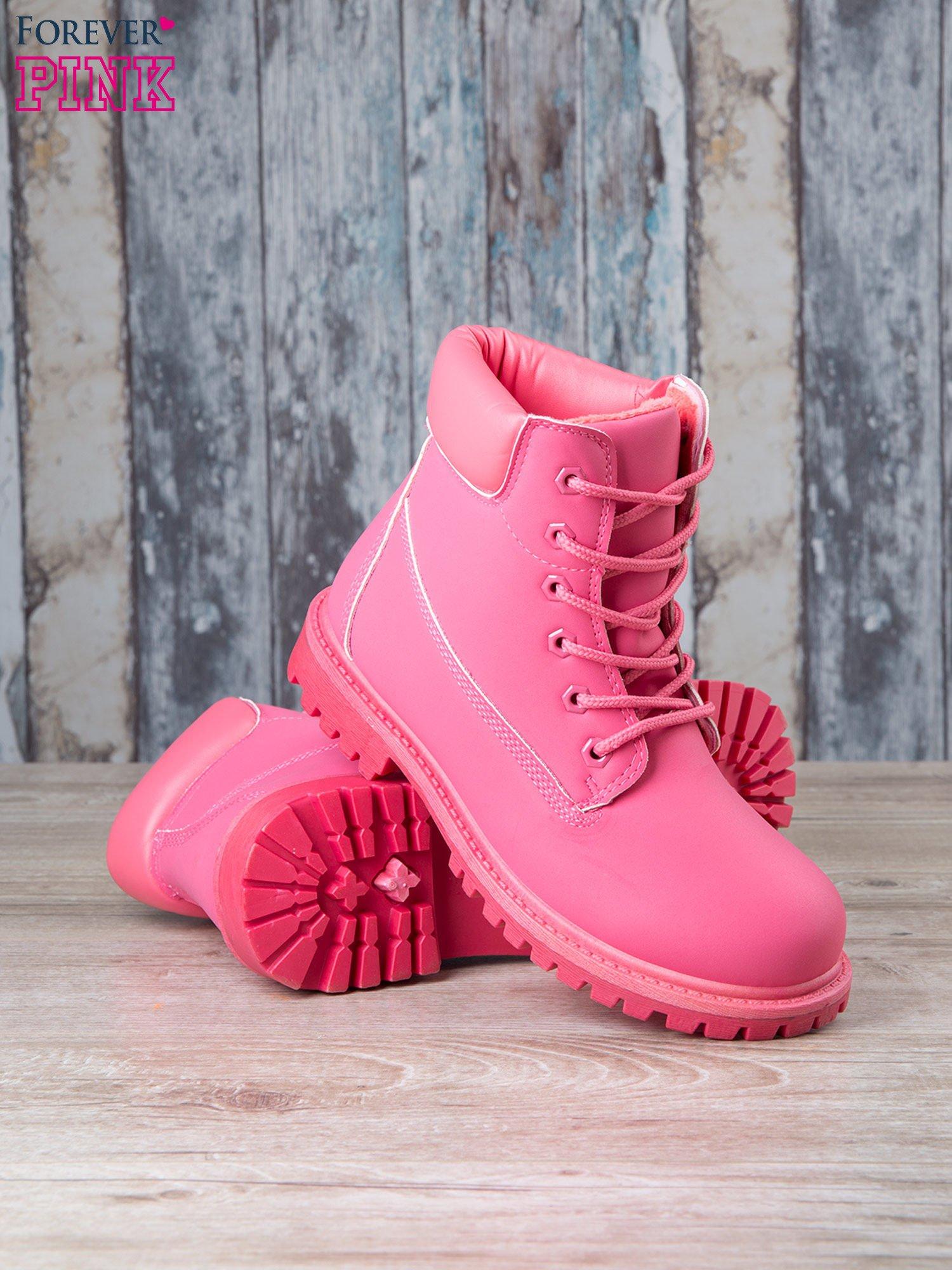 Fuksjowe jednolite buty trekkingowe damskie Westie traperki ocieplane                                   zdj.                                  4