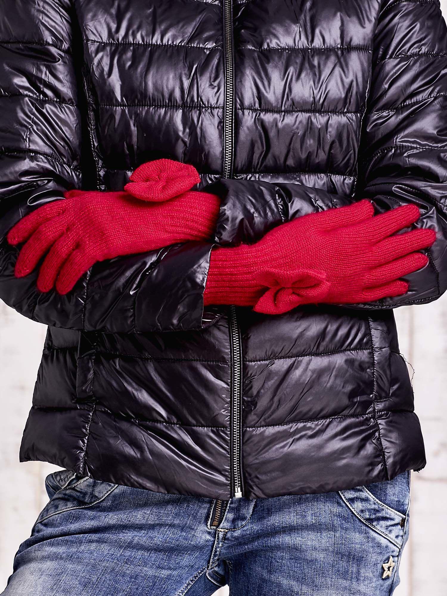Fuksjowe rękawiczki z kokardką i długim ściągaczem                                  zdj.                                  2
