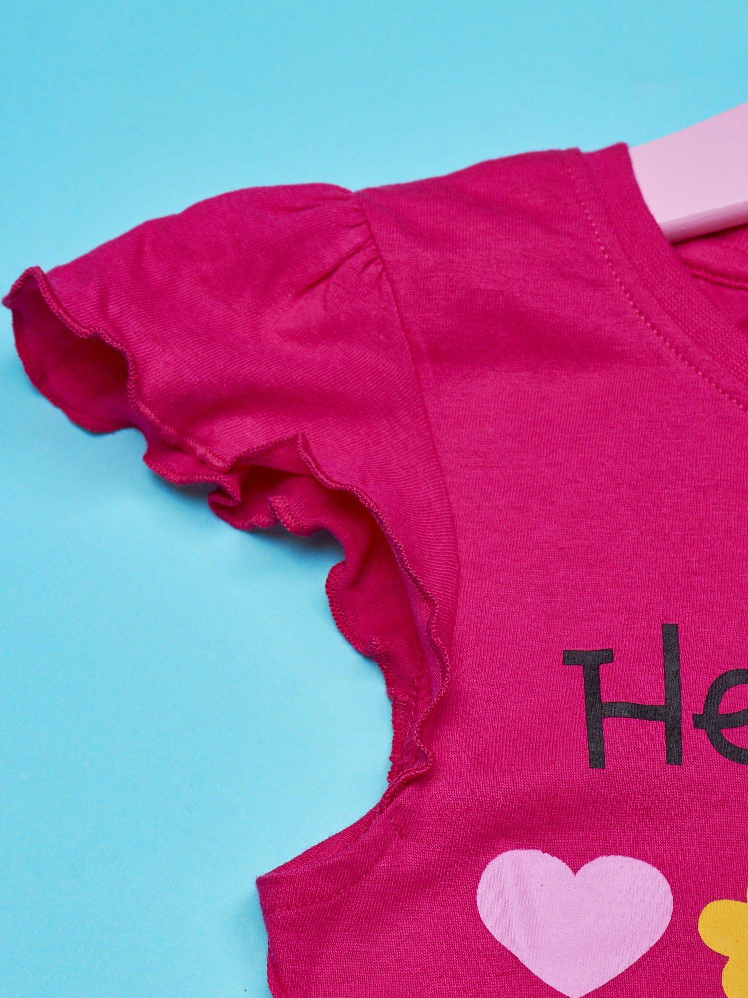 Fuksjowy t-shirt dla dziewczynki z falbankami HELLO KITTY                                  zdj.                                  3
