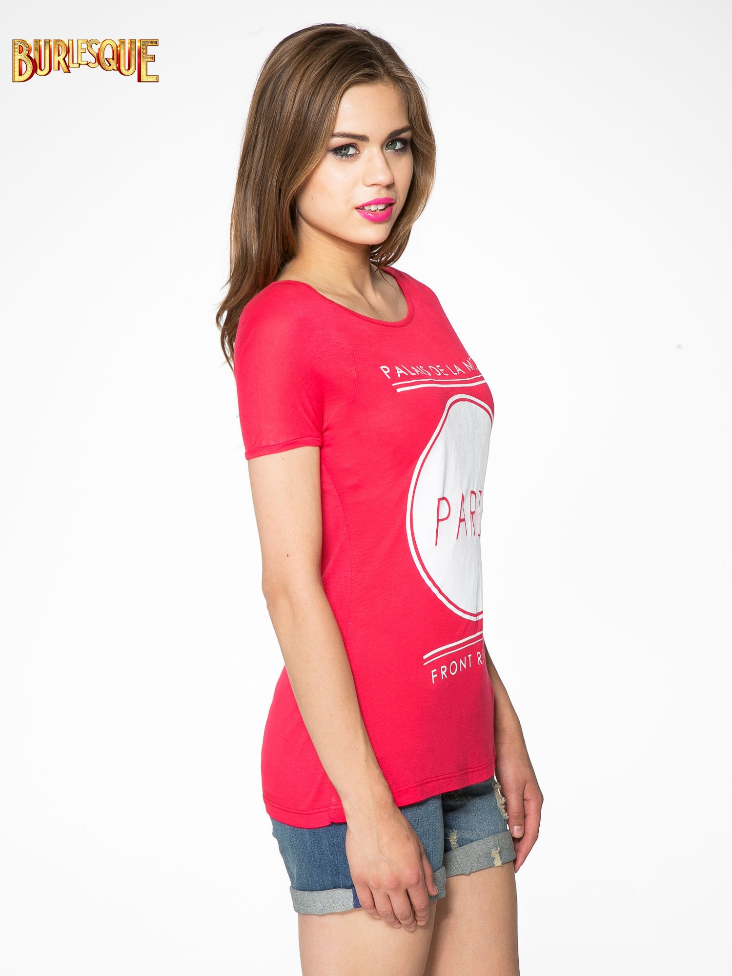 Fuksjowy t-shirt z nadrukiem PARIS                                  zdj.                                  3