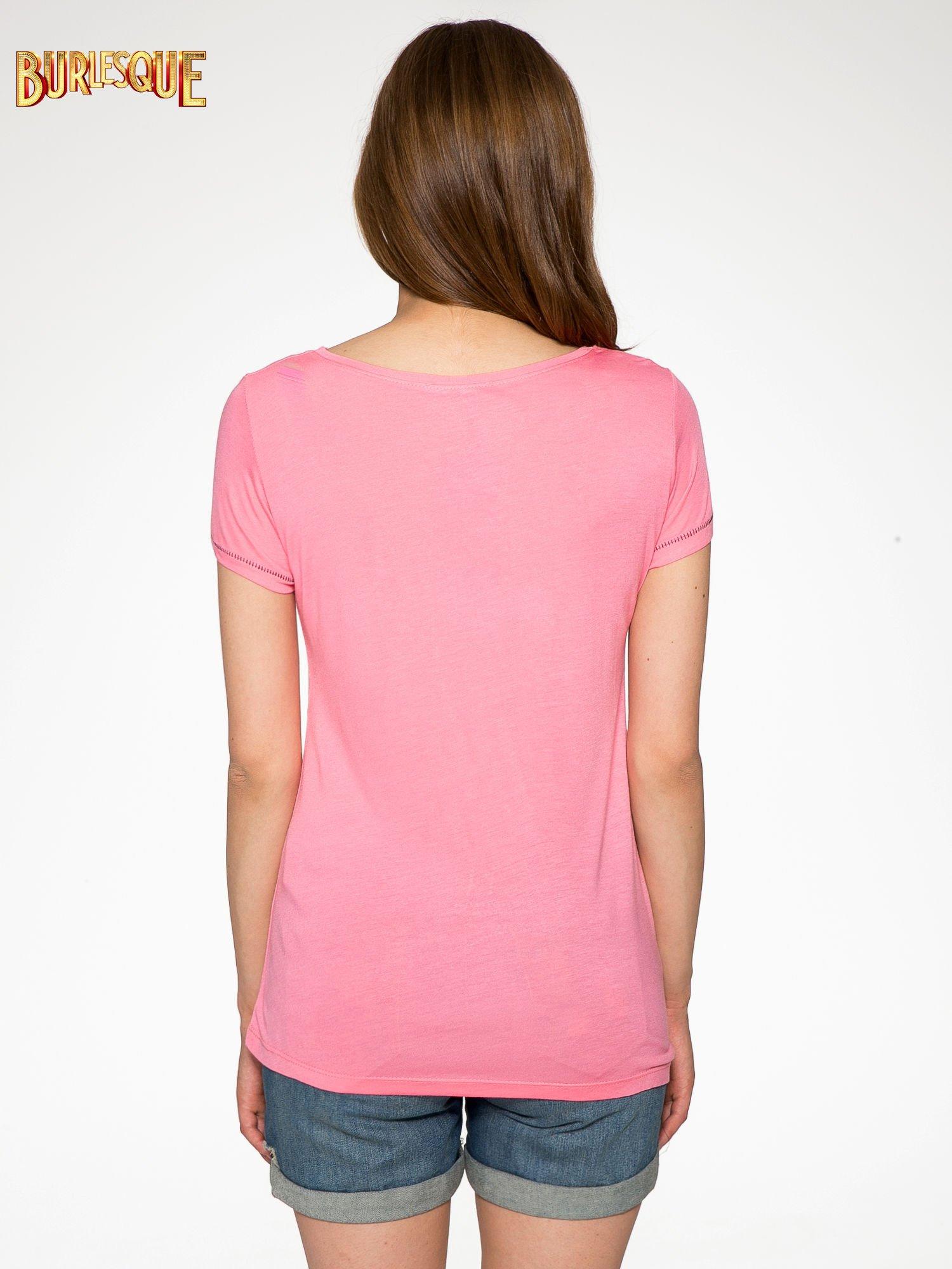 Fuksjowy t-shirt z nadrukiem wieży Eiffla                                  zdj.                                  4