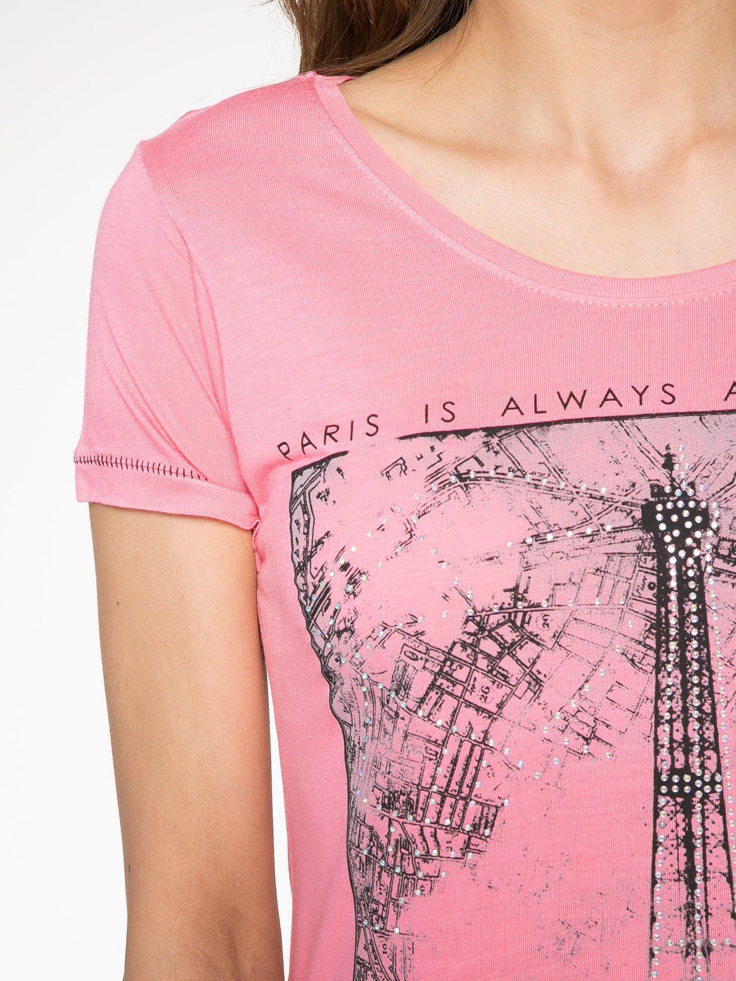 Fuksjowy t-shirt z nadrukiem wieży Eiffla                                  zdj.                                  5