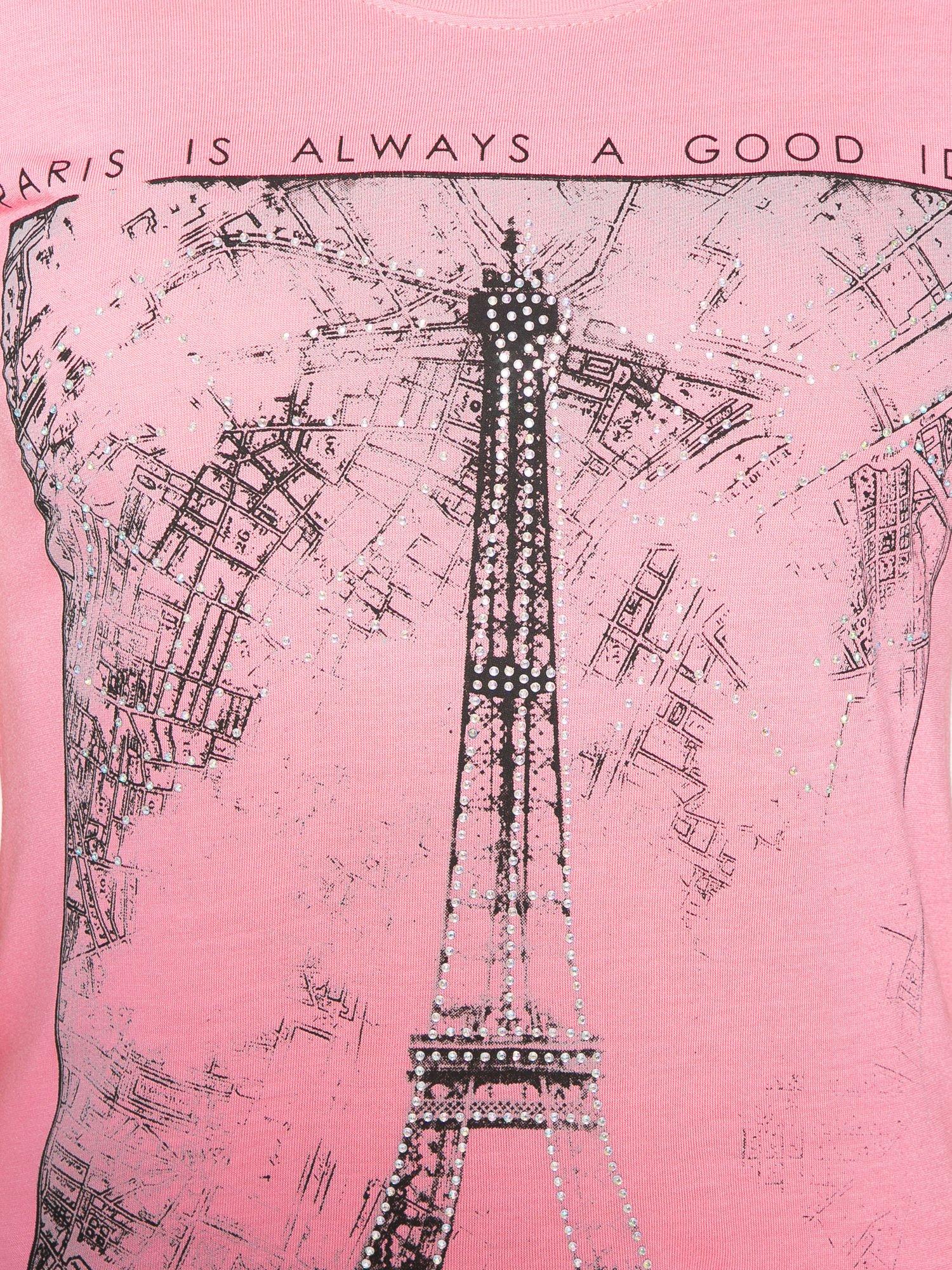 Fuksjowy t-shirt z nadrukiem wieży Eiffla                                  zdj.                                  8