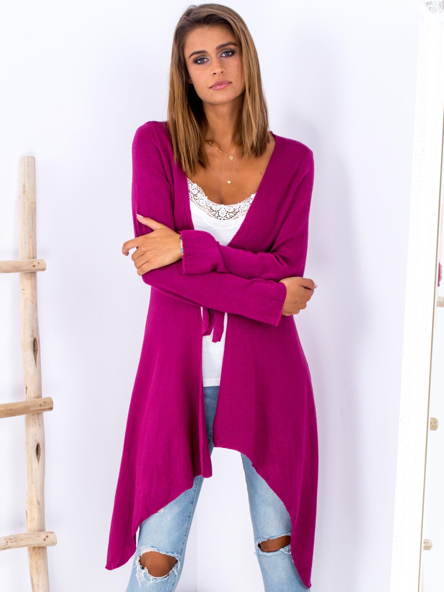 3ef02b3cac9b2a Fuksjowy wiązany asymetryczny sweter - Sweter asymetryczny - sklep ...