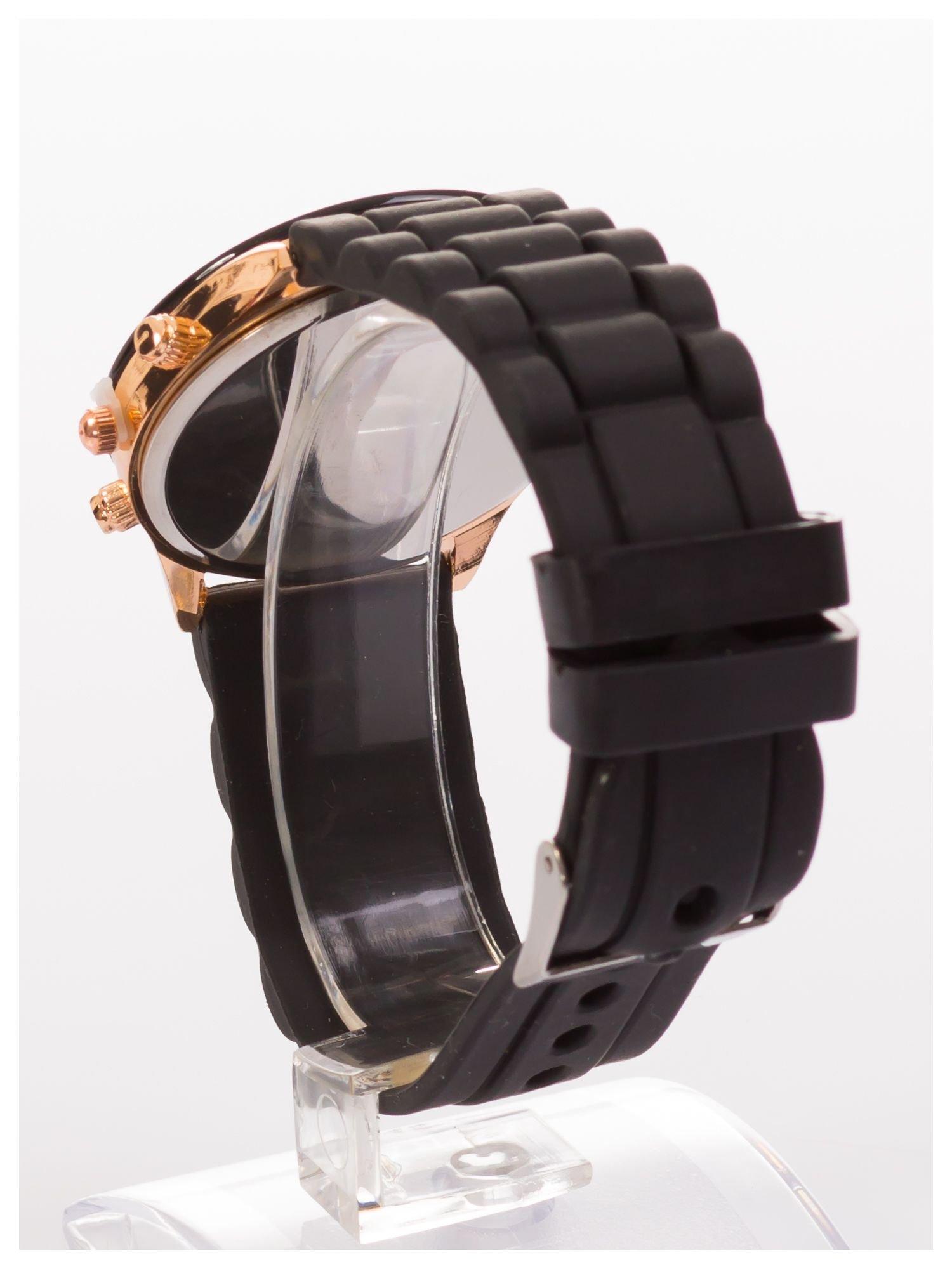 GENEVA Czarny zegarek damski na silikonowym pasku                                  zdj.                                  4