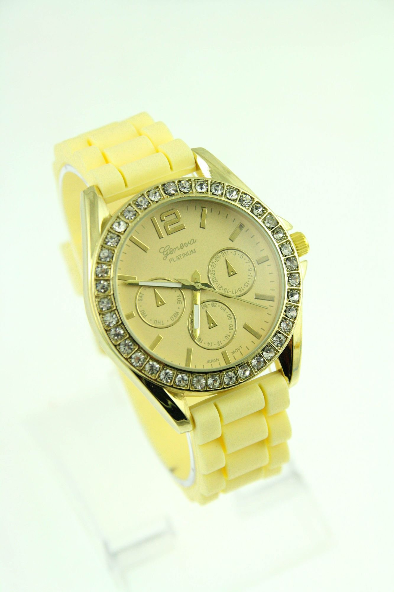 GENEVA Morelowy zegarek damski z cyrkoniami na silikonowym pasku                                  zdj.                                  1