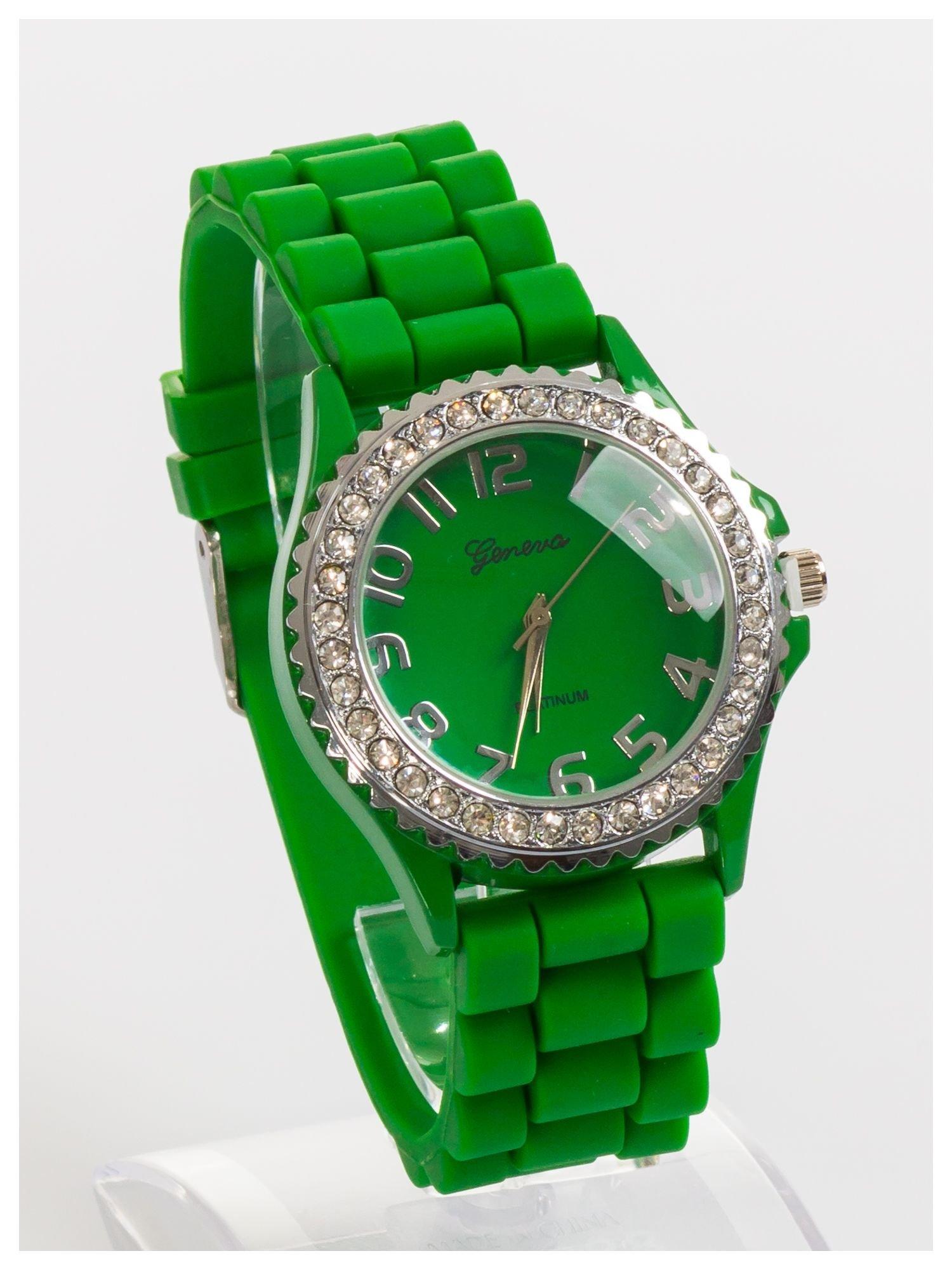 GENEVA Zielony zegarek damski na silikonowym pasku                                  zdj.                                  2