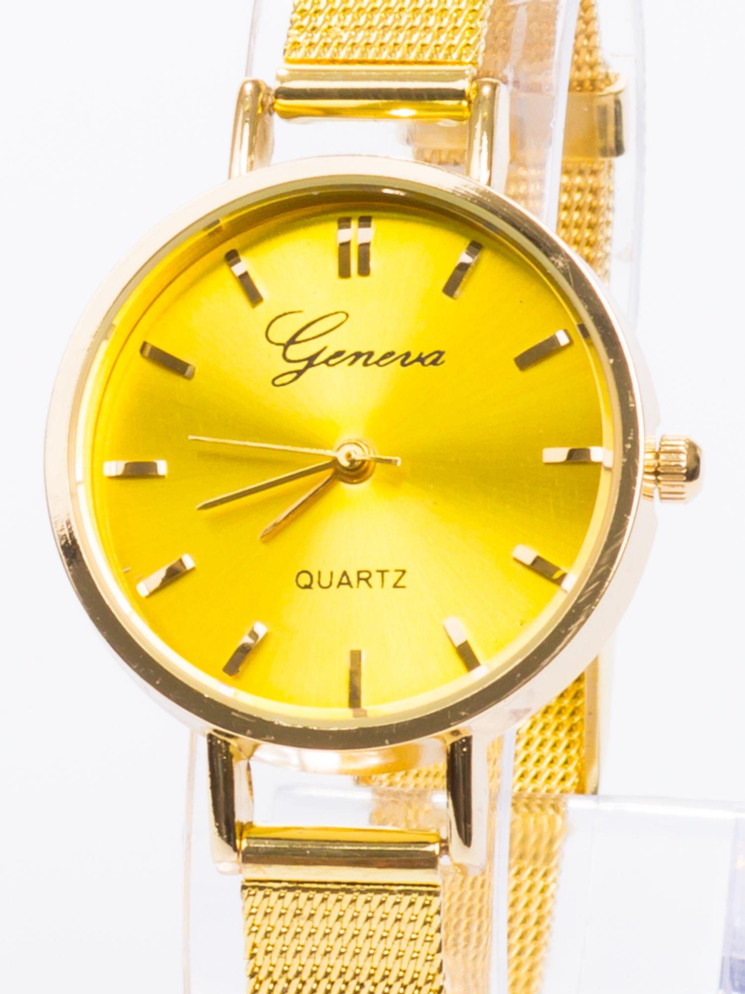GENEVA Złoty prosty zegarek damski na bransolecie                                  zdj.                                  2