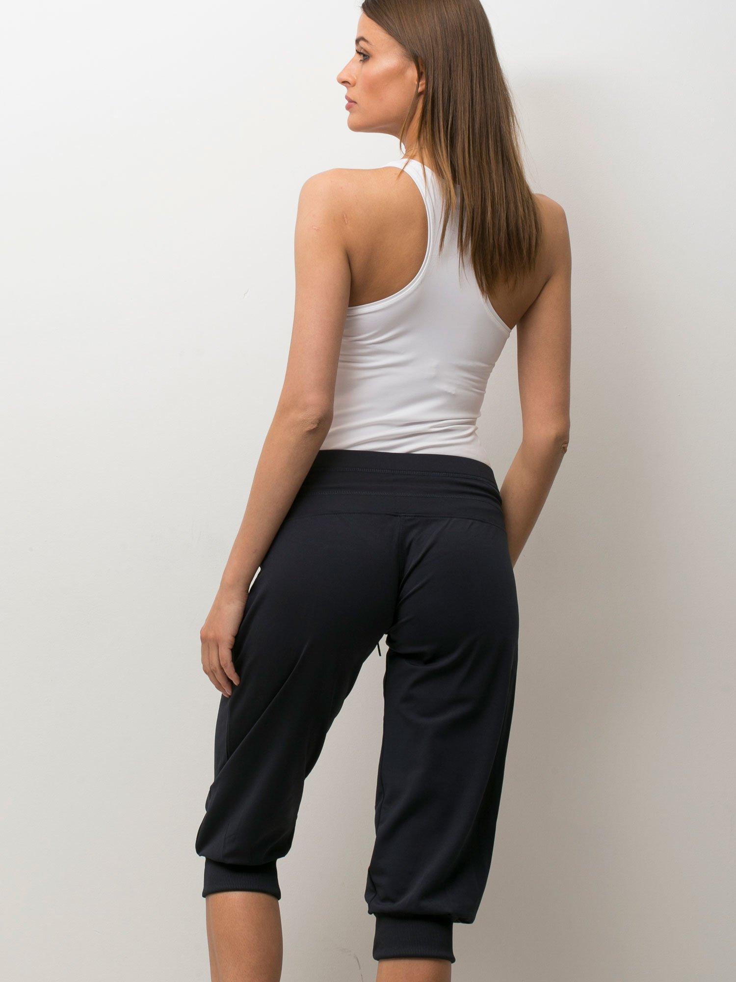 Grafitowe spodnie capri z wiązaniem                                  zdj.                                  1
