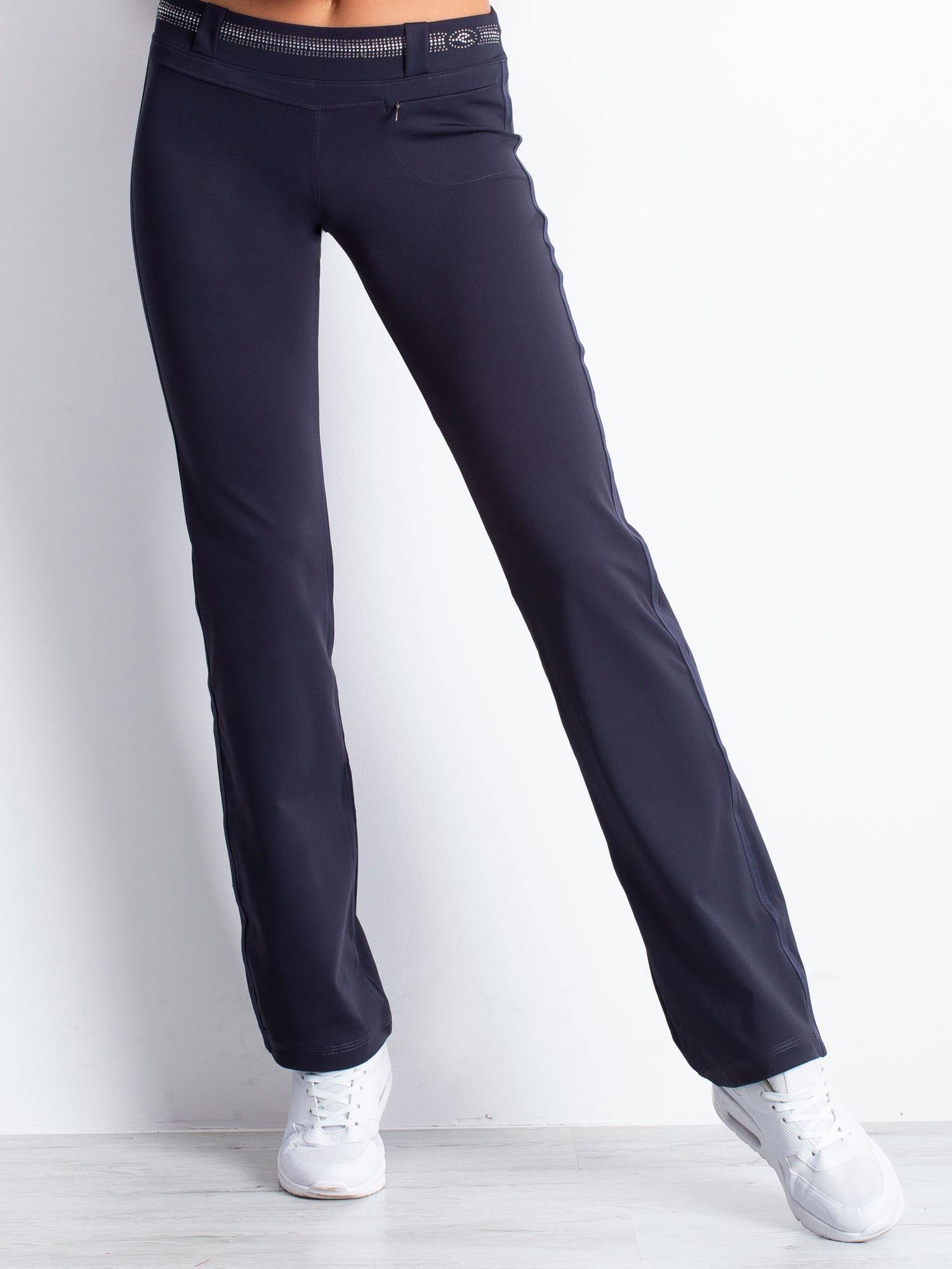 Grafitowe spodnie dresowe z aplikacją z dżetów                                  zdj.                                  1