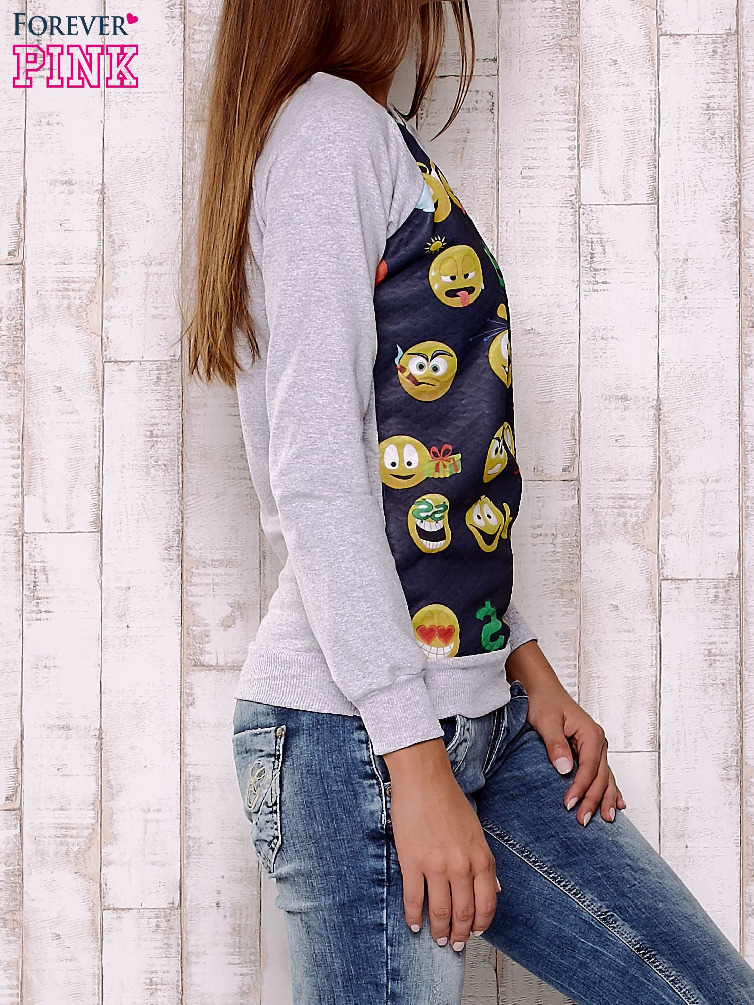 Granatowa bluza damska z nadrukiem emotikonów                                  zdj.                                  4