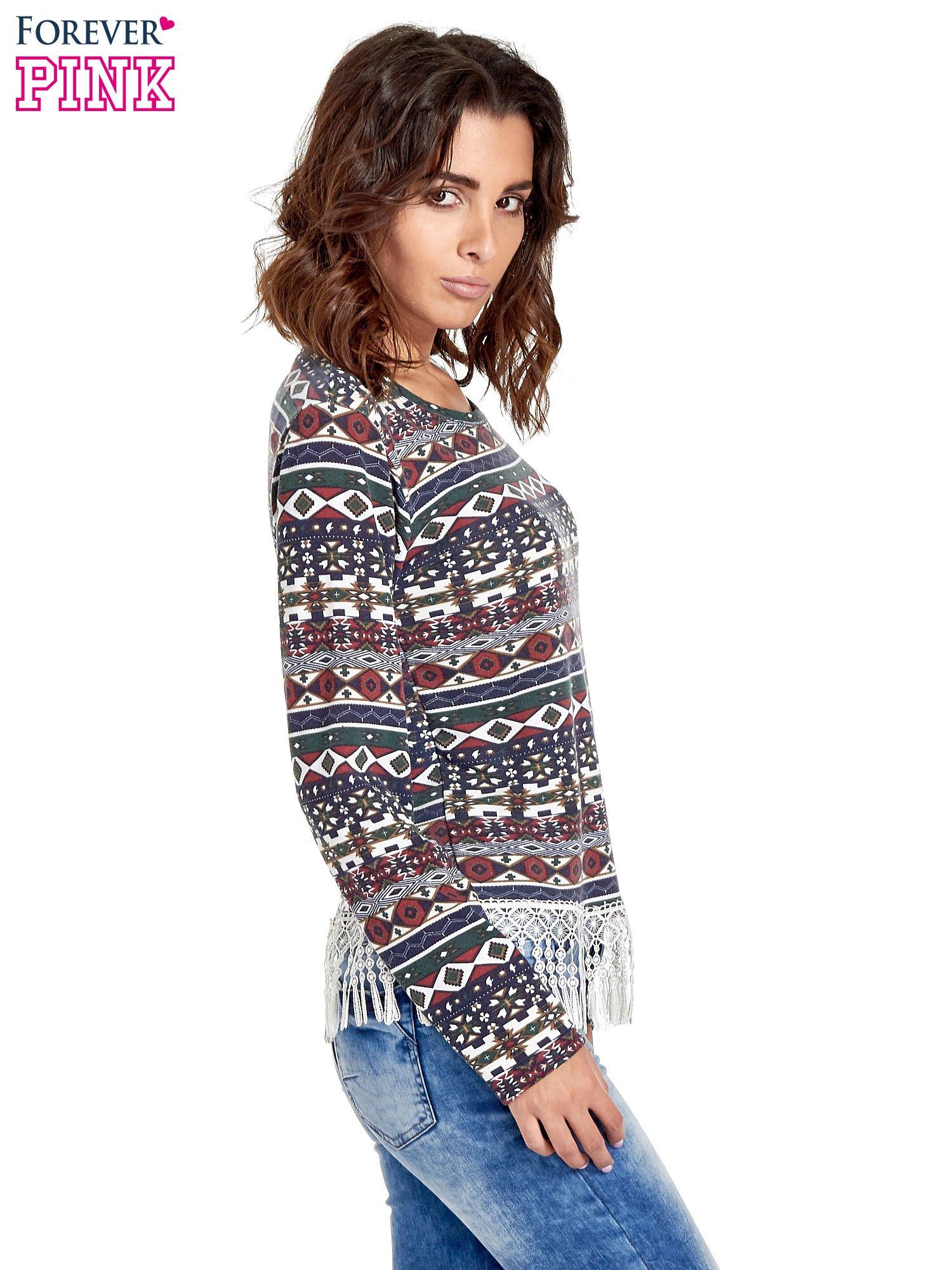 Granatowa bluza w azteckie wzory z koronką z frędzlami                                  zdj.                                  3