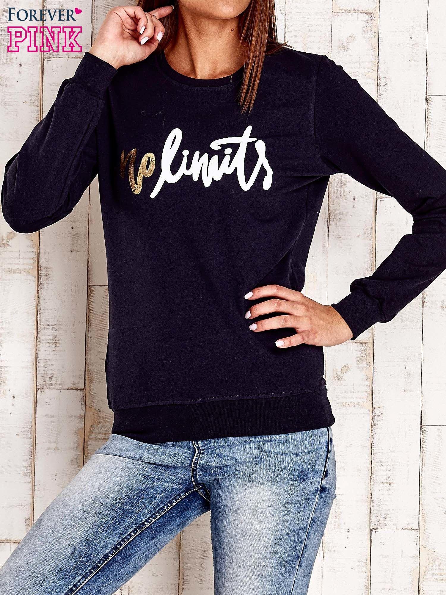 Granatowa bluza z napisem NO LIMITS                                  zdj.                                  1