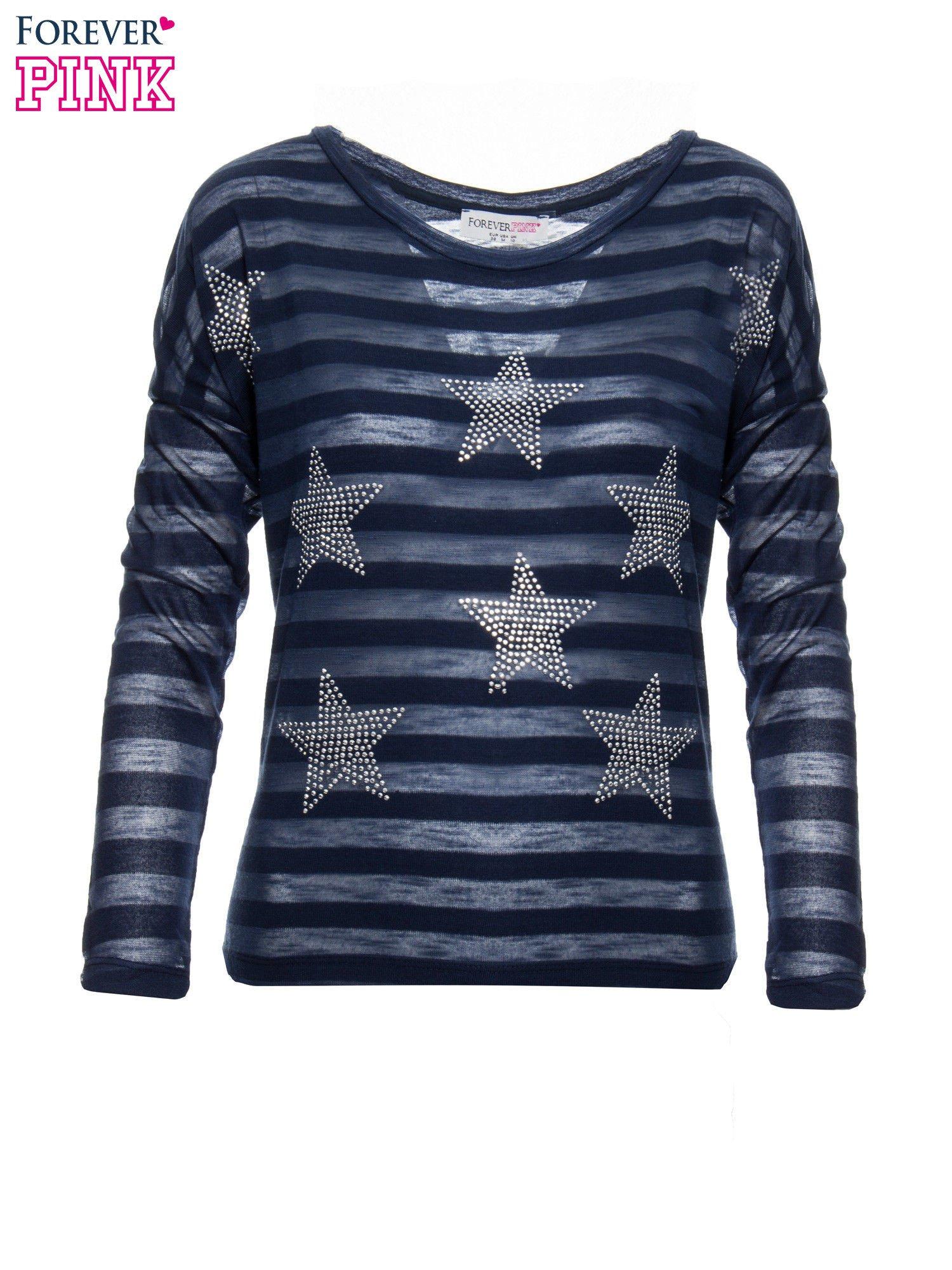 Granatowa bluzka w paski z nadrukiem gwiazd z dżetów                                  zdj.                                  4