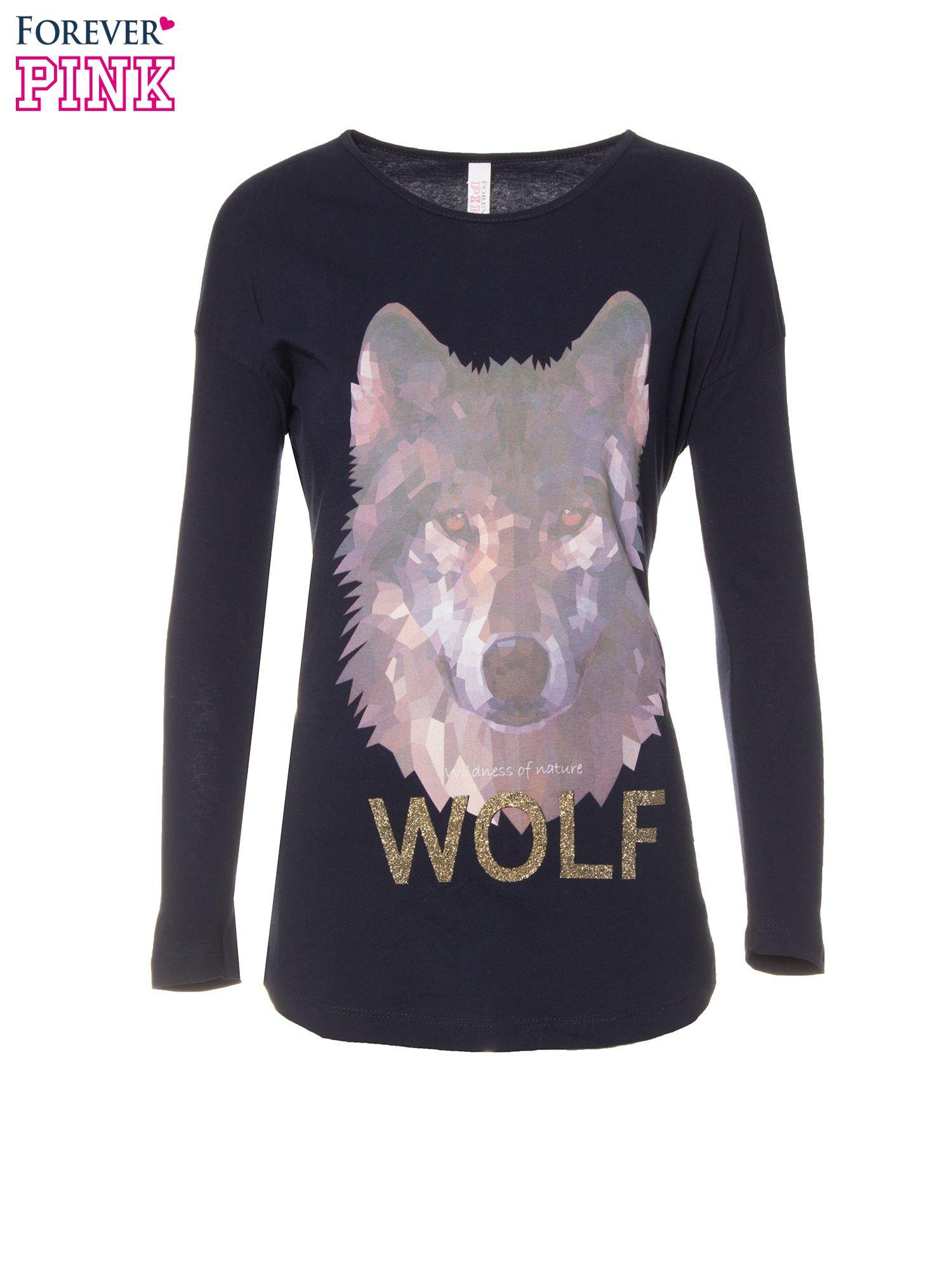 Granatowa bluzka z nadrukiem wilka i brokatowym napisem WOLF                                  zdj.                                  5