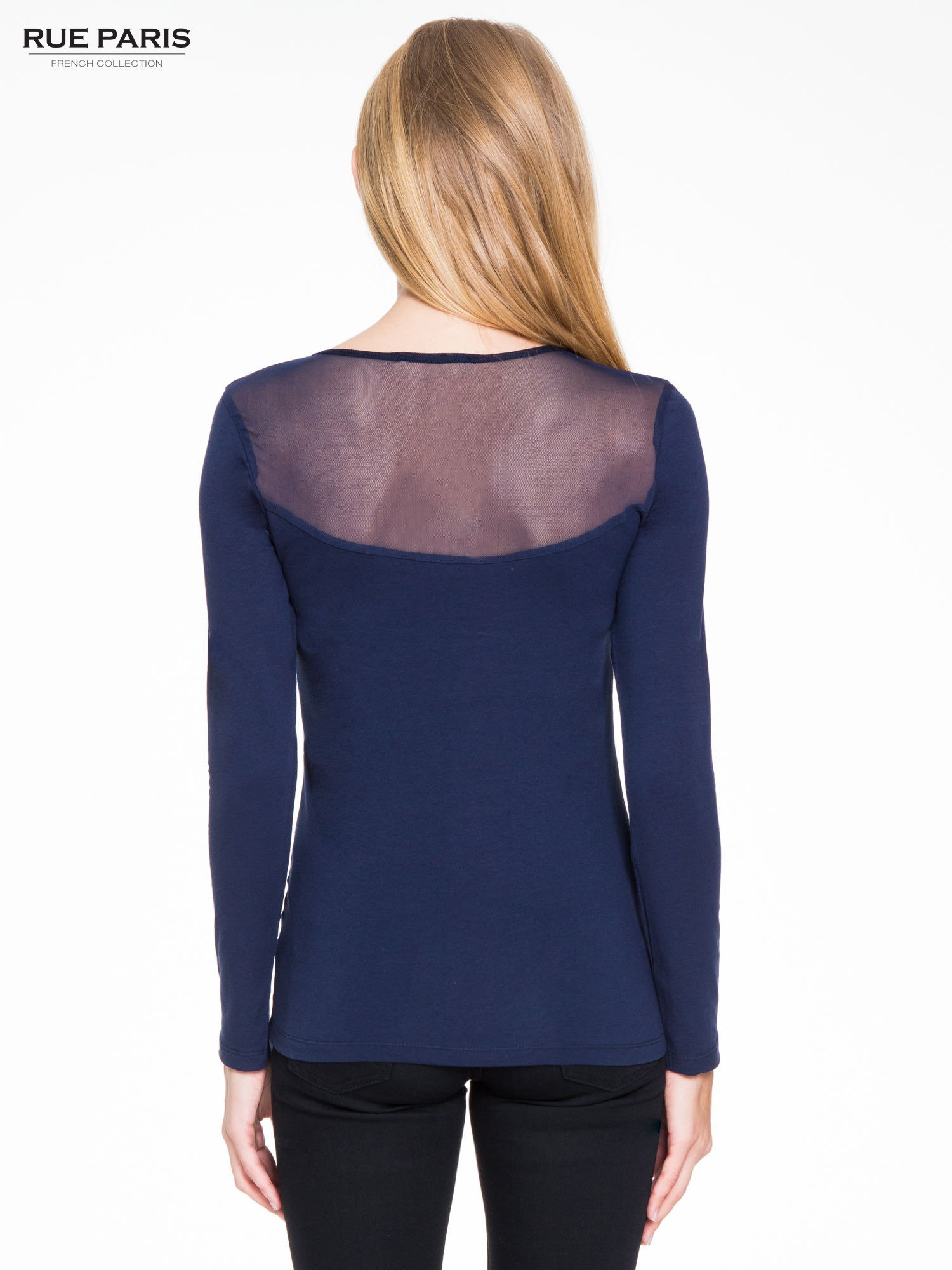 Granatowa bluzka z tiulowym karczkiem                                  zdj.                                  4