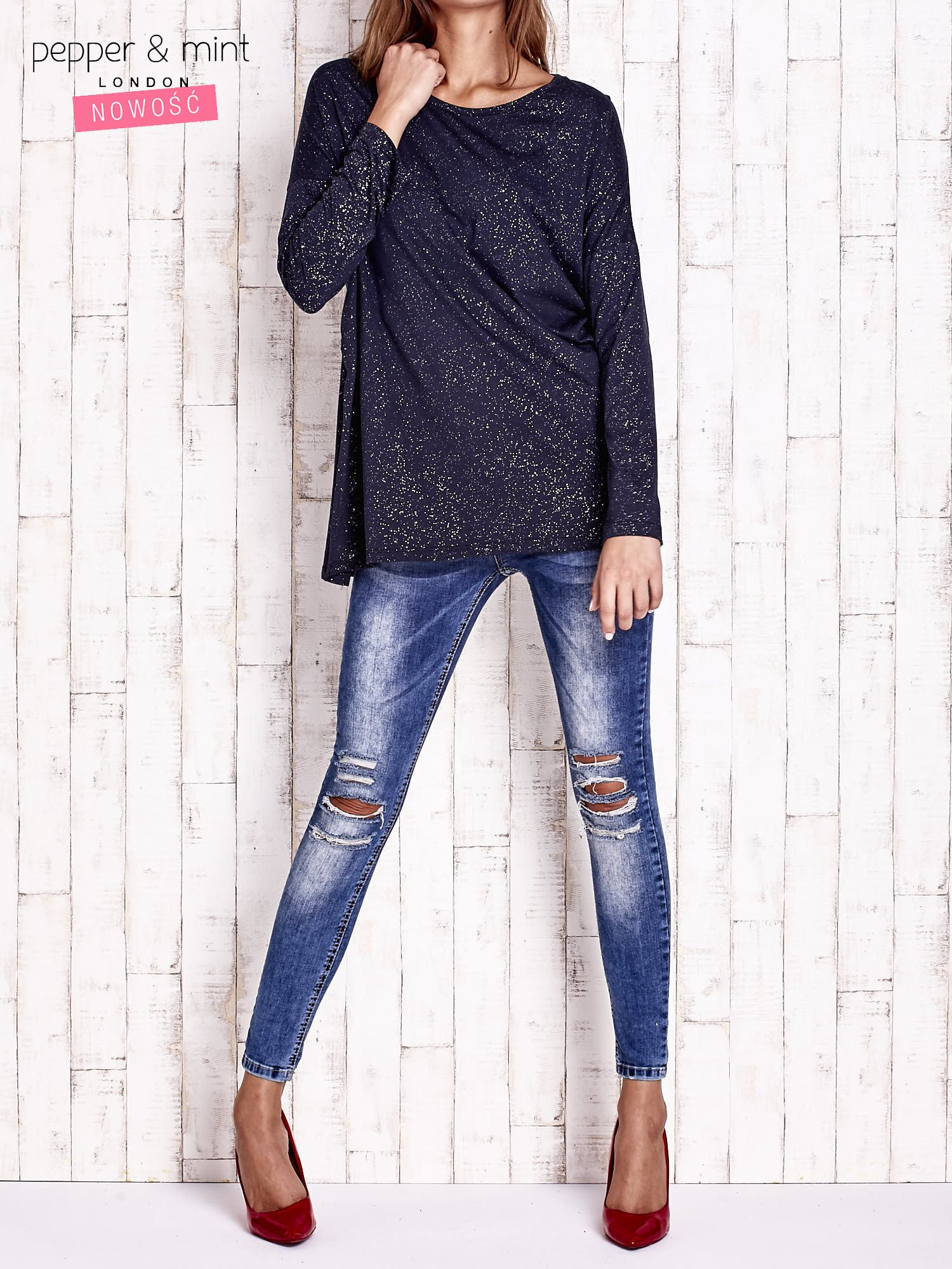 Granatowa brokatowa bluzka oversize                                  zdj.                                  2