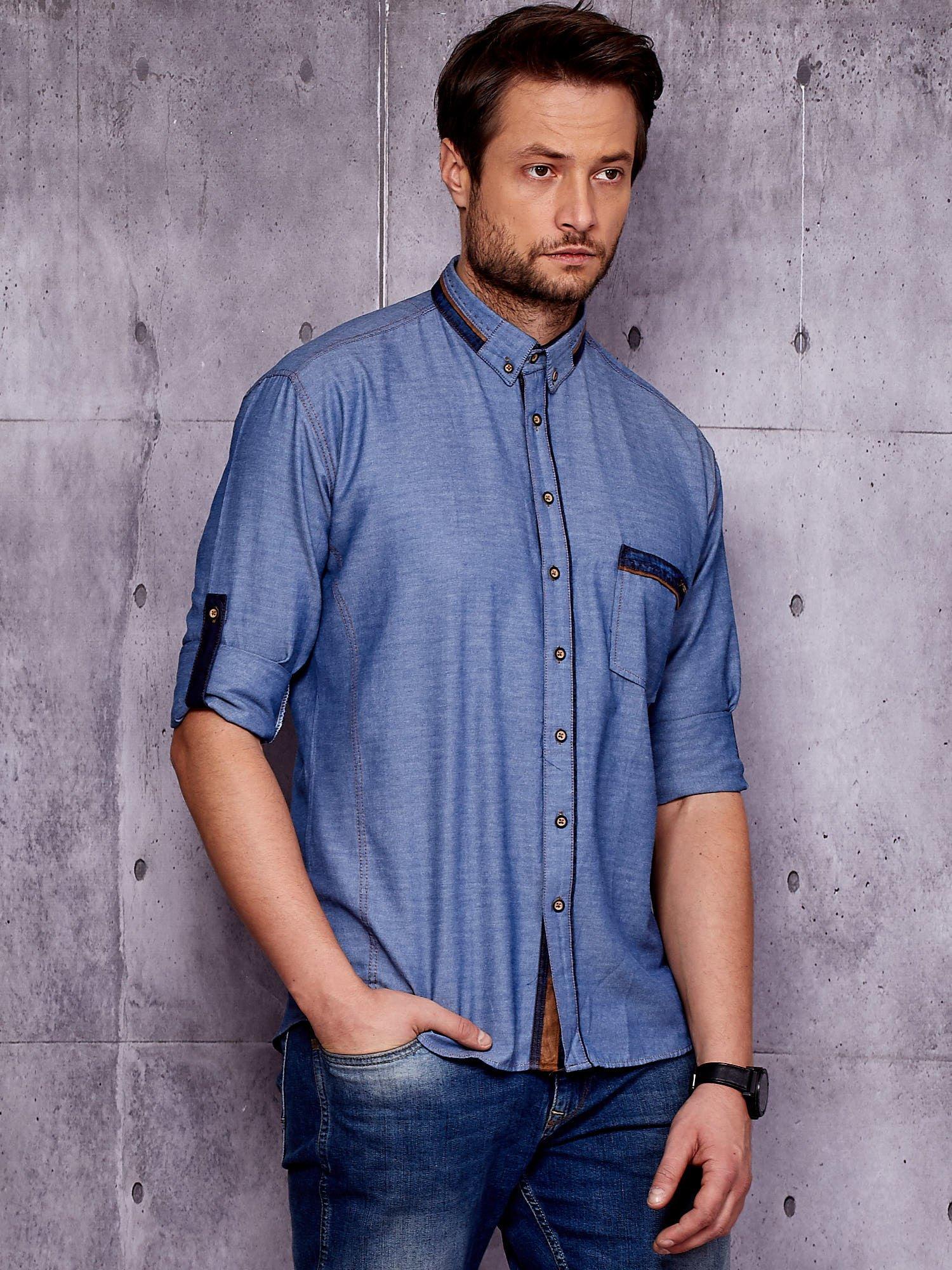 Granatowa denimowa koszula męska z zamszowymi wstawkami PLUS  JD3iV