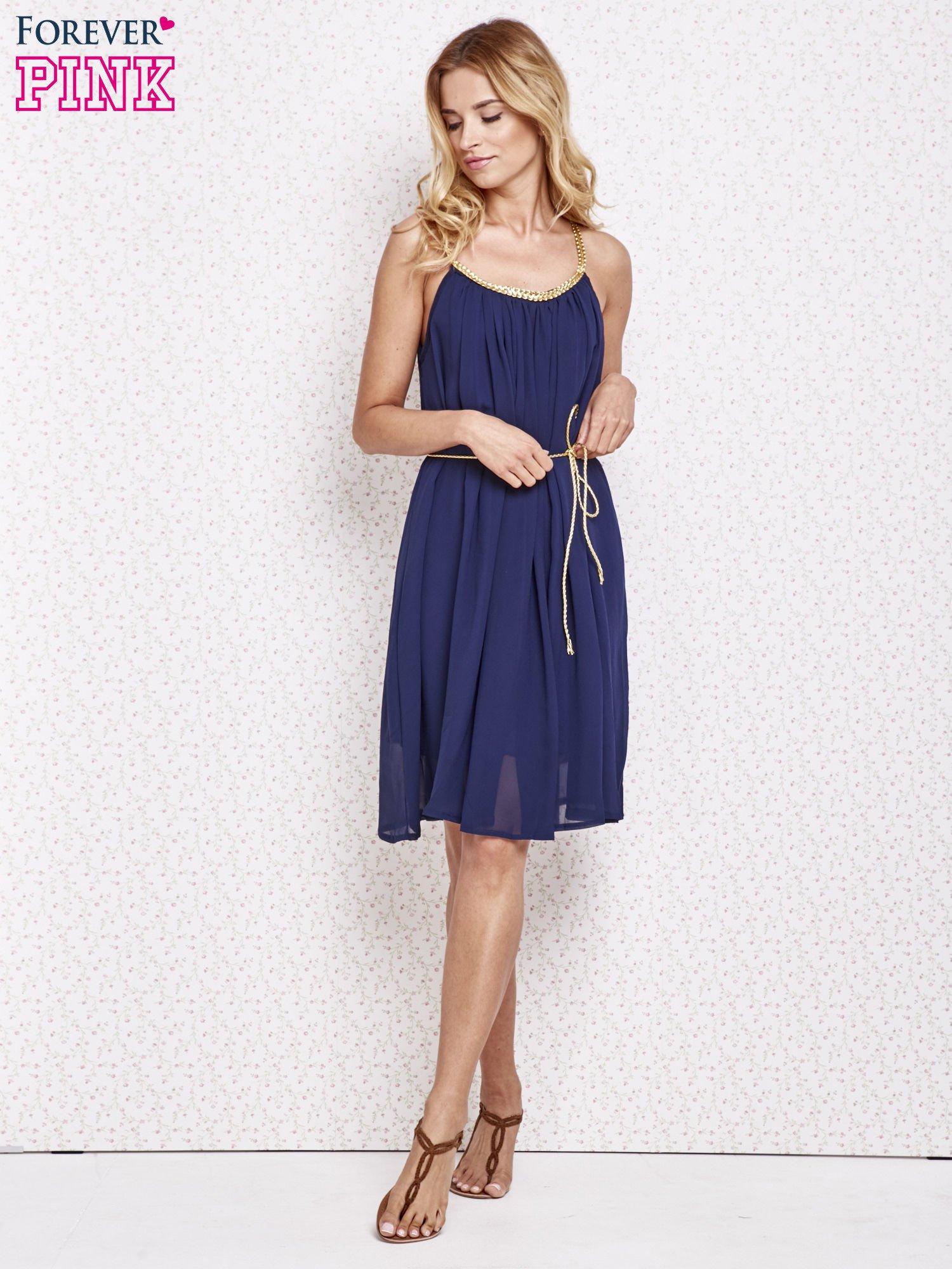 Granatowa grecka sukienka ze złotym paskiem                                  zdj.                                  2