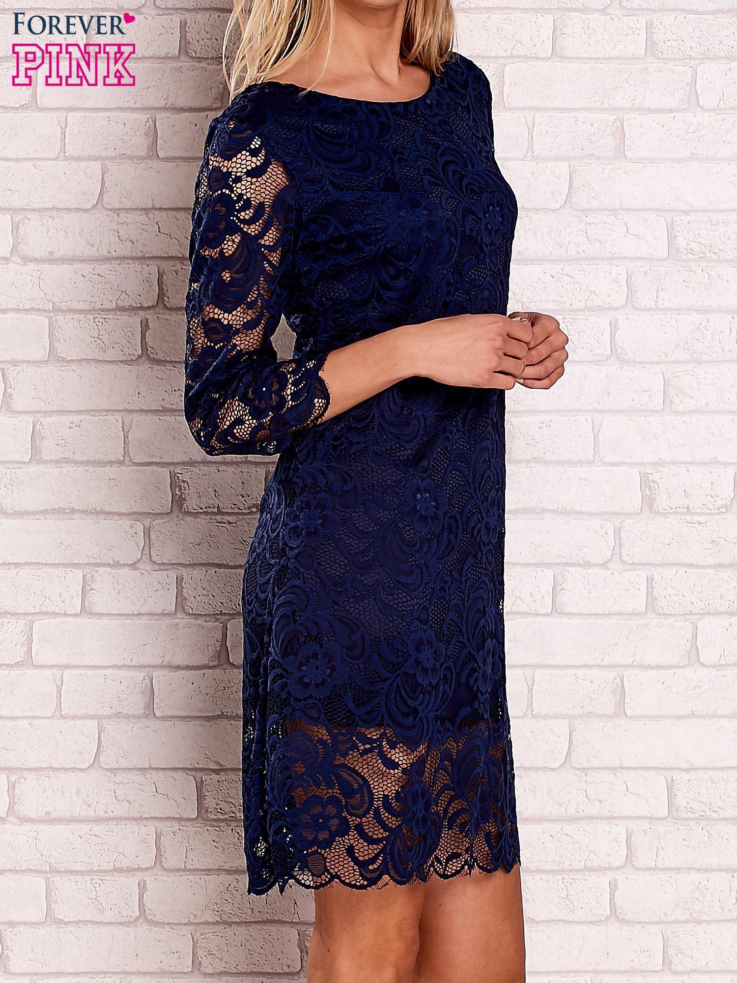 84d9dc8524 Granatowa koronkowa sukienka z wiązaniem na plecach - Sukienka ...