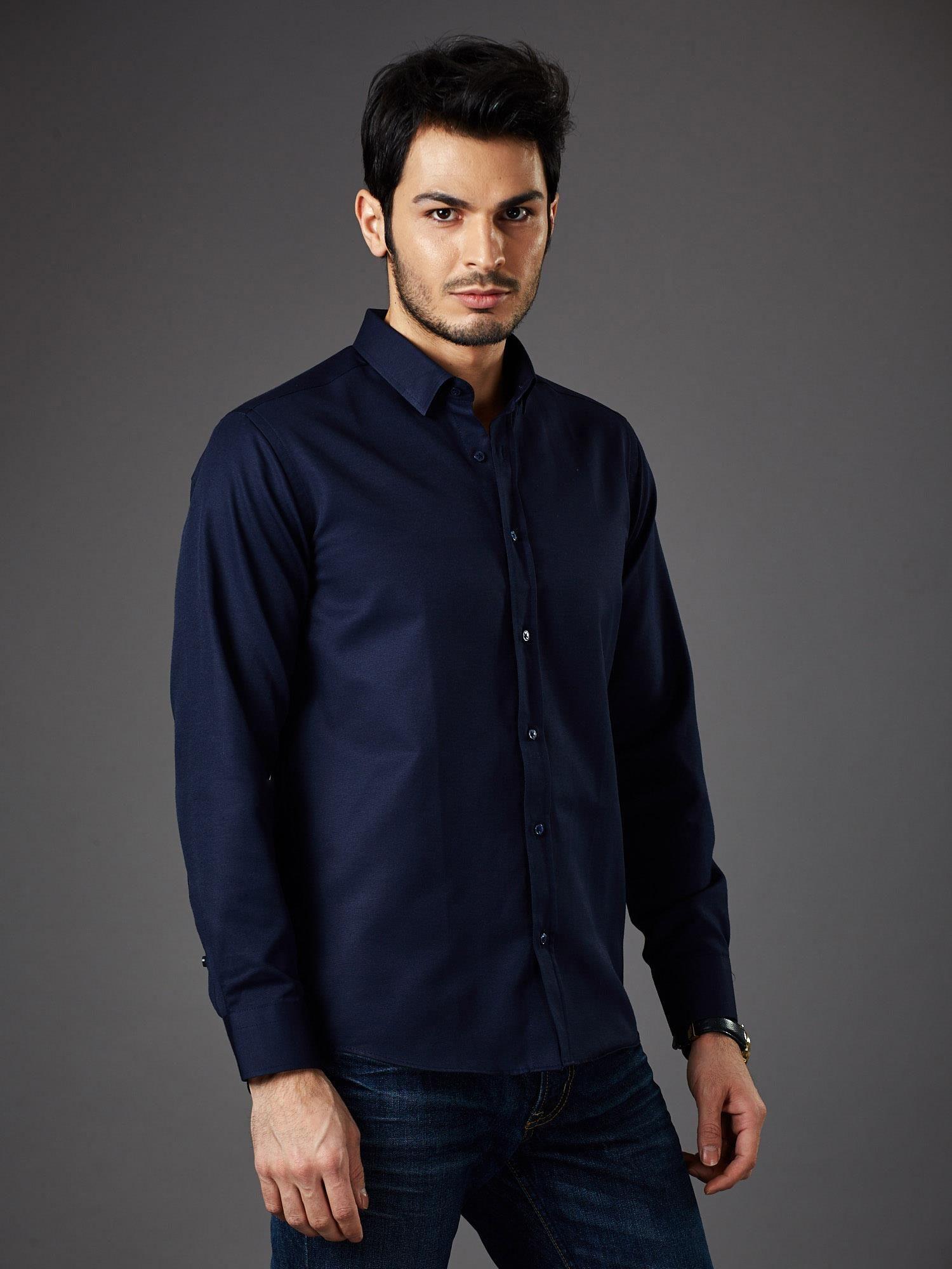 16f6cb806cbc7 Granatowa koszula męska regular fit - Mężczyźni koszula męska ...