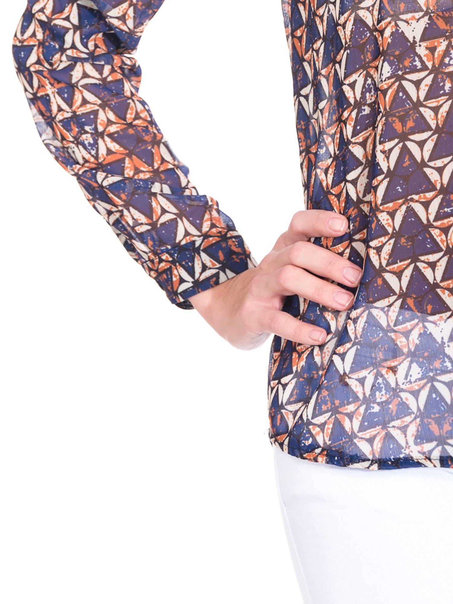 Granatowa koszula mgiełka w geometryczne wzory                                  zdj.                                  7