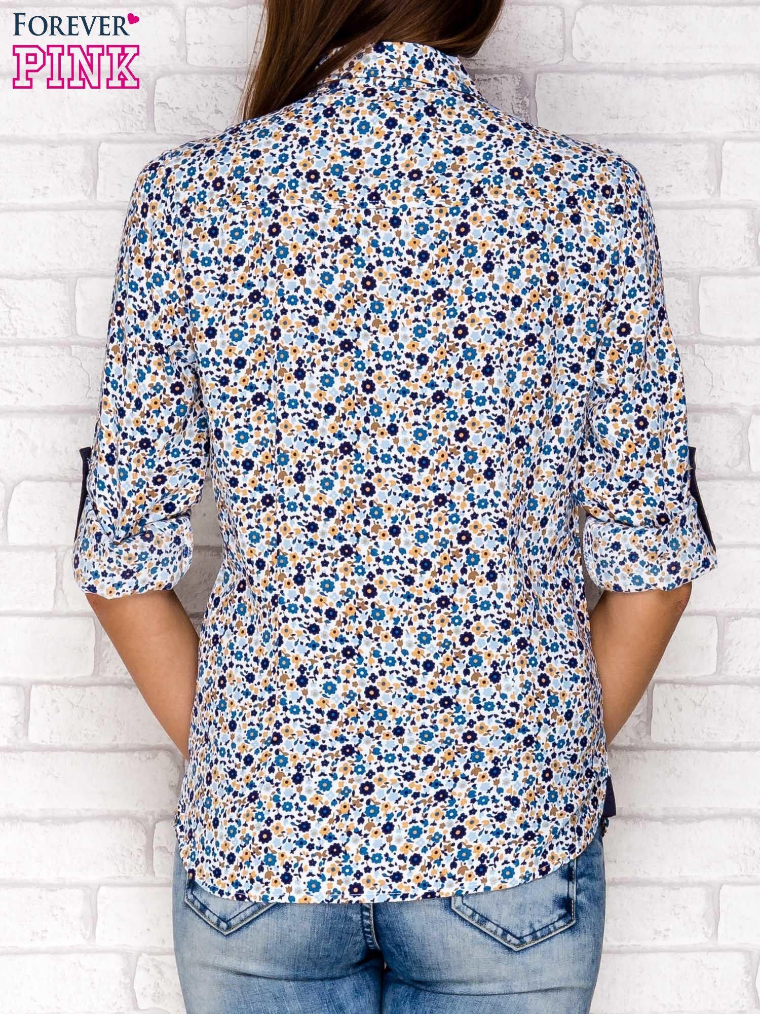 Granatowa koszula w łączkę