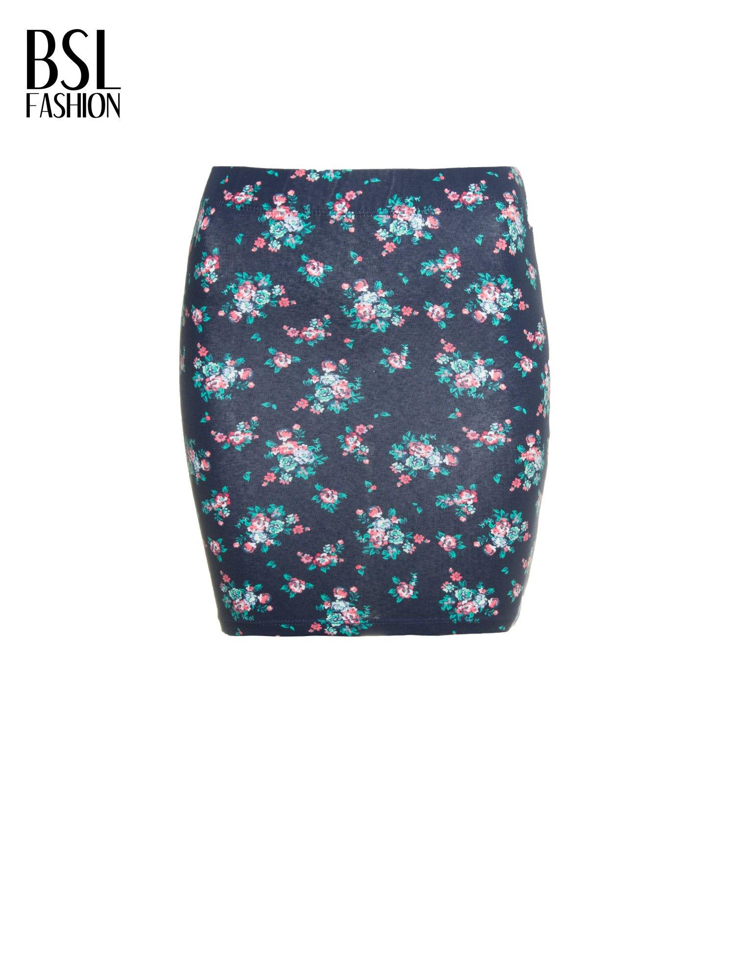 Granatowa mini spódnica tuba w kwiaty                                  zdj.                                  2