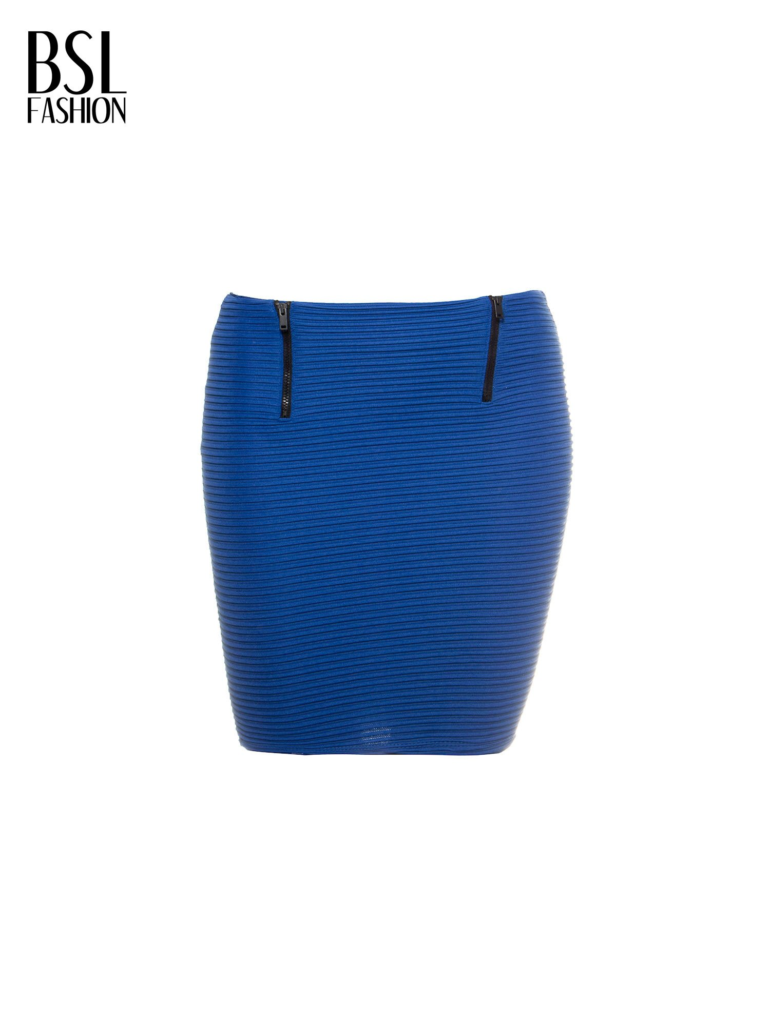 Granatowa prążkowana mini spódnica tuba z suwakami                                  zdj.                                  2