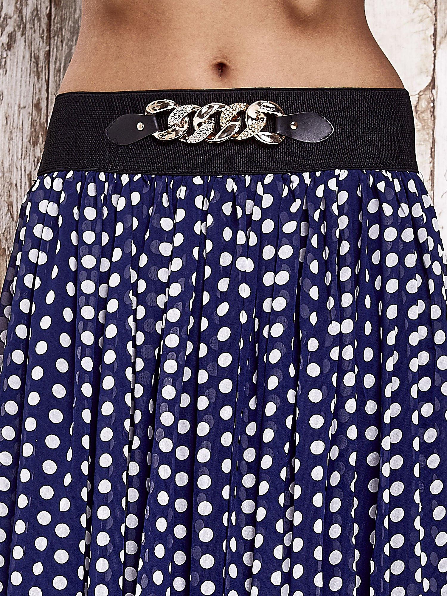 Granatowa spódnica maxi w grochy z ozdobnym pasem                                  zdj.                                  6